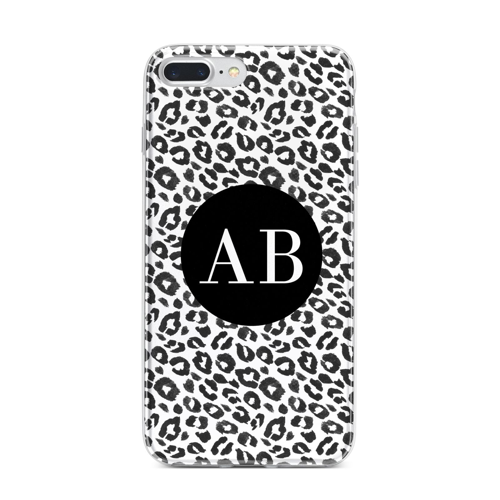 Leopard Print Black and White iPhone 7 Plus Bumper Case on Silver iPhone
