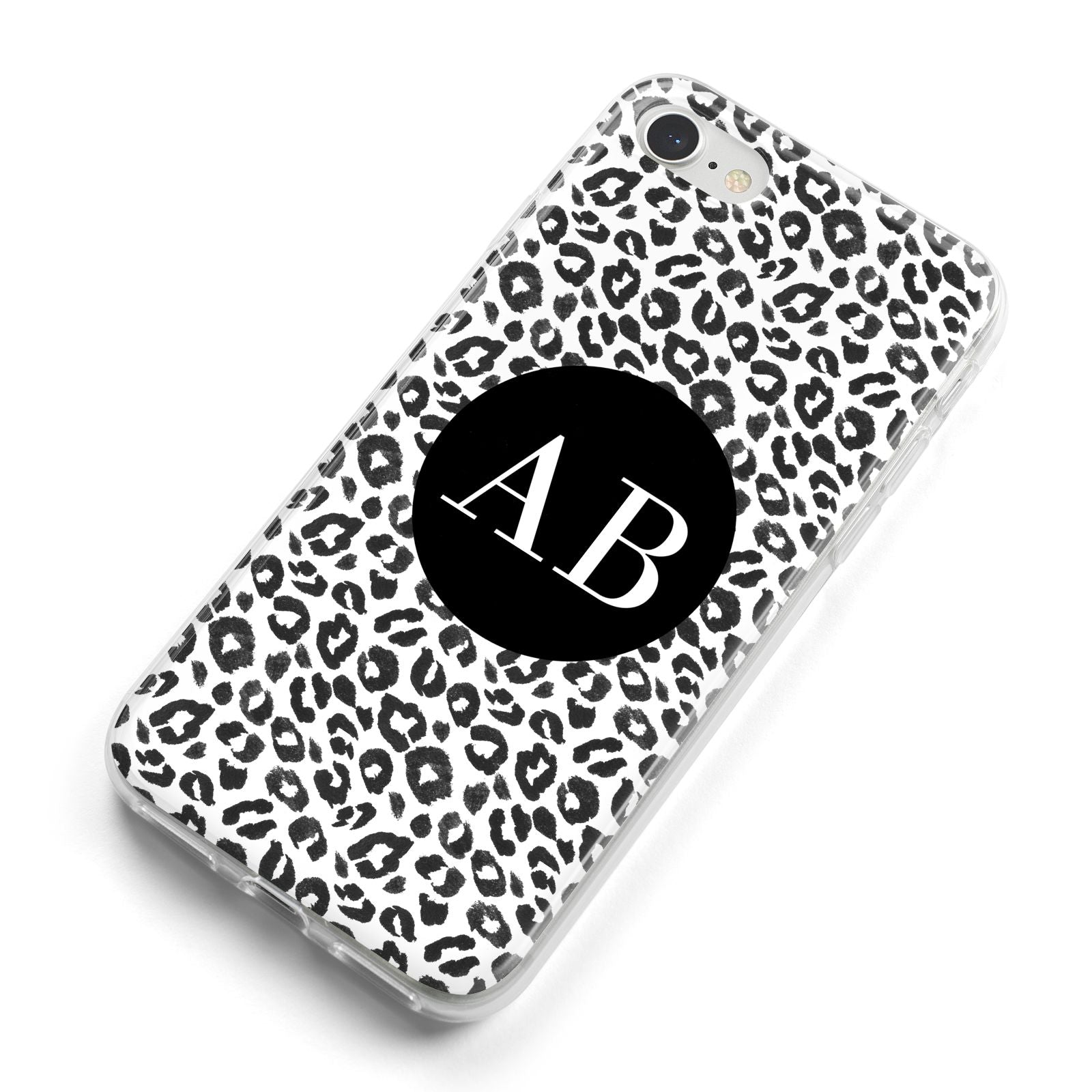 Leopard Print Black and White iPhone 8 Bumper Case on Silver iPhone Alternative Image