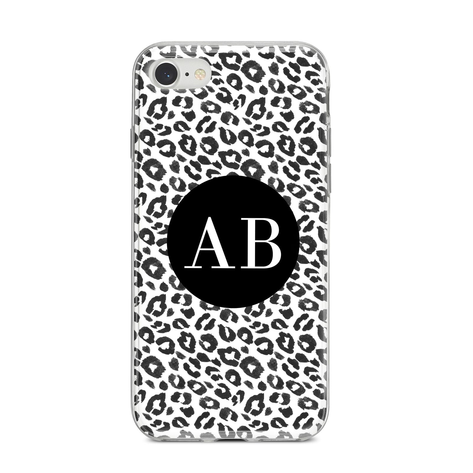 Leopard Print Black and White iPhone 8 Bumper Case on Silver iPhone