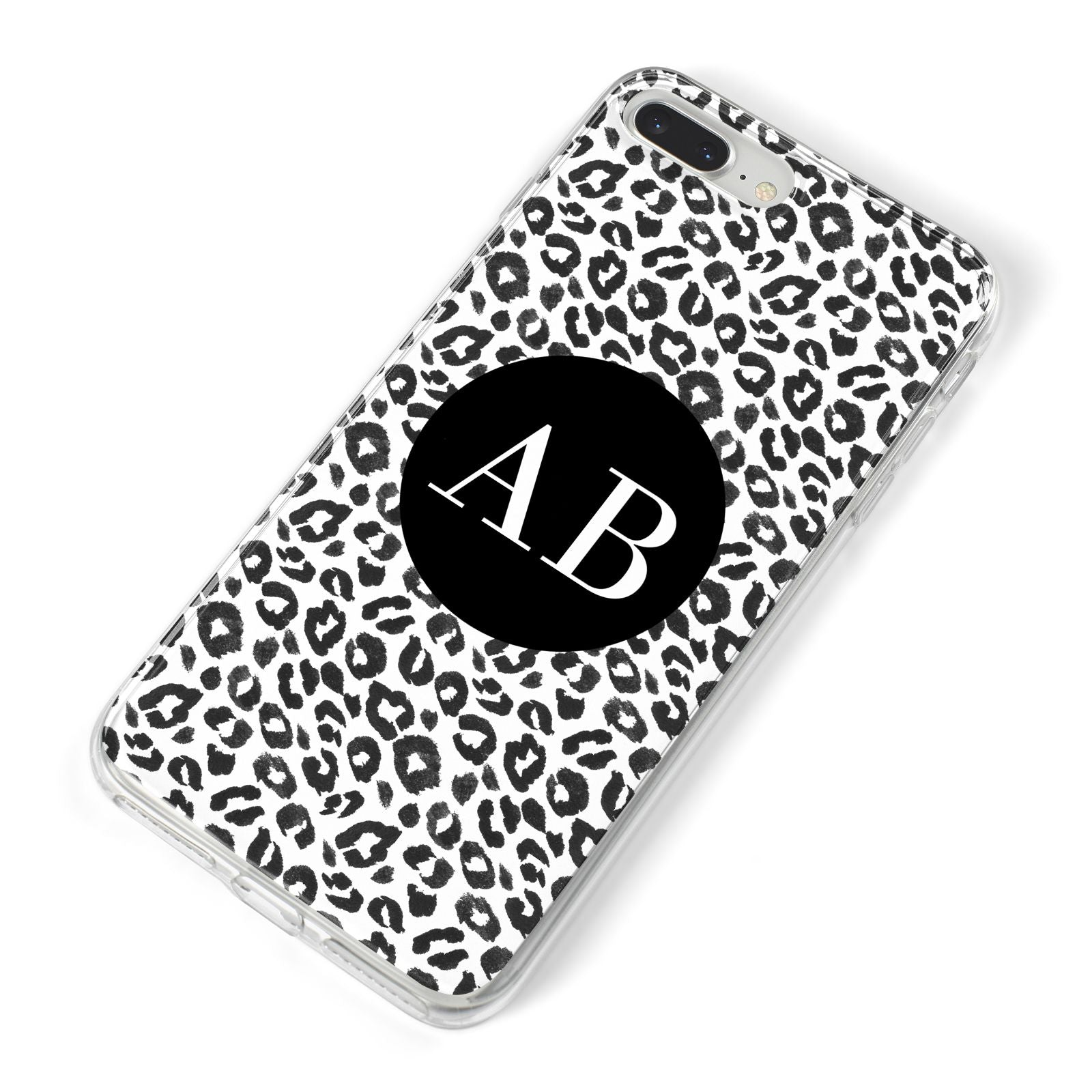 Leopard Print Black and White iPhone 8 Plus Bumper Case on Silver iPhone Alternative Image