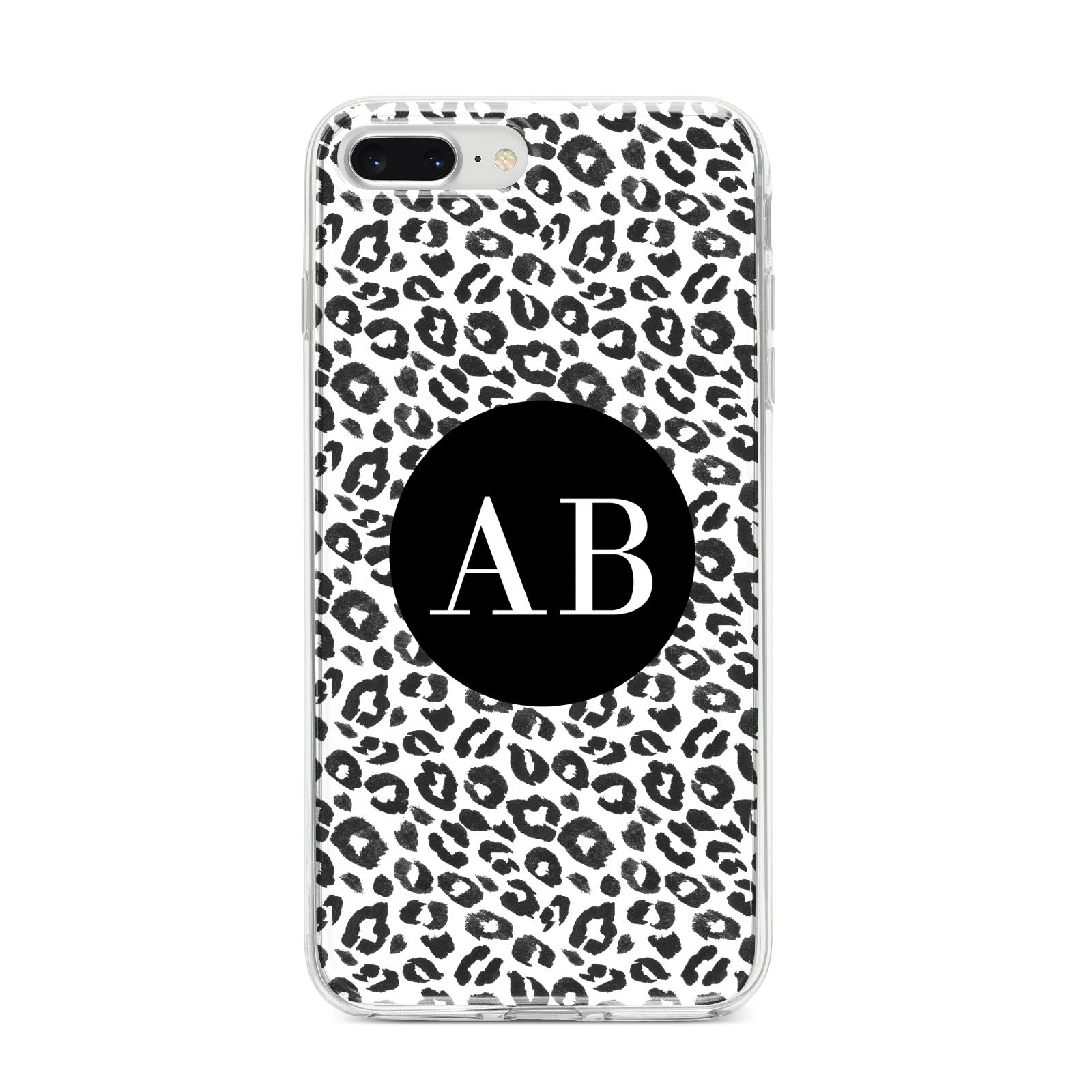 Leopard Print Black and White iPhone 8 Plus Bumper Case on Silver iPhone