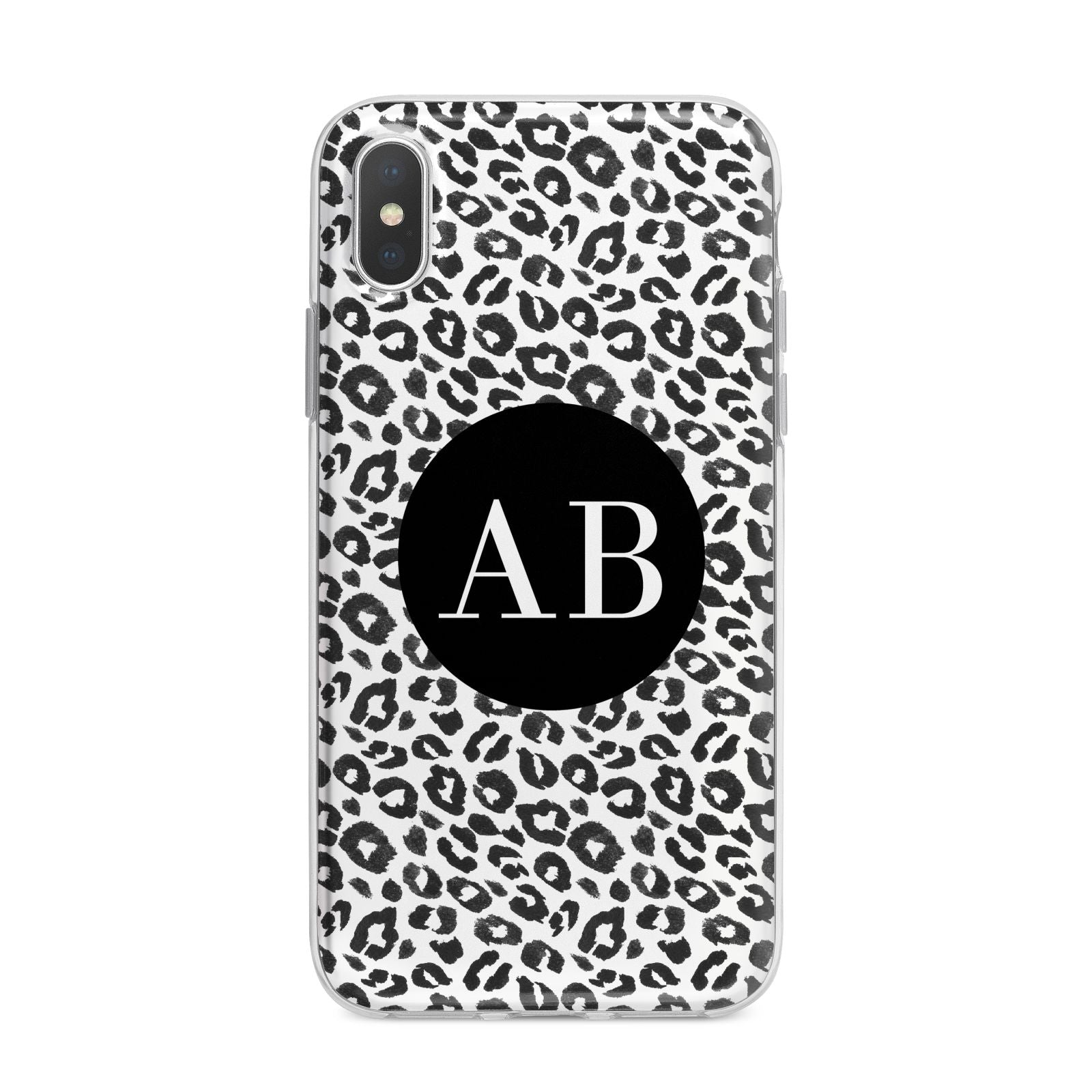 Leopard Print Black and White iPhone X Bumper Case on Silver iPhone Alternative Image 1