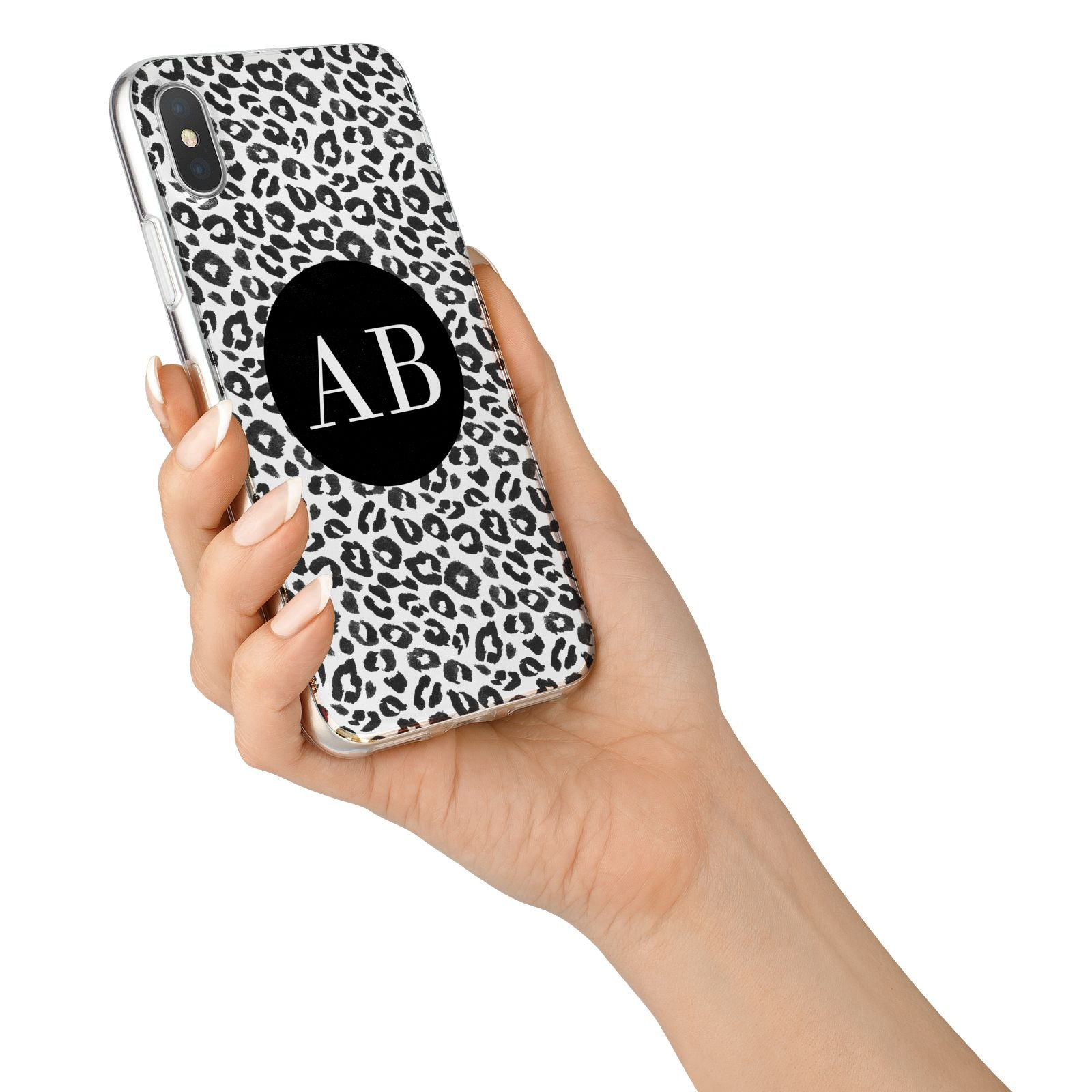 Leopard Print Black and White iPhone X Bumper Case on Silver iPhone Alternative Image 2