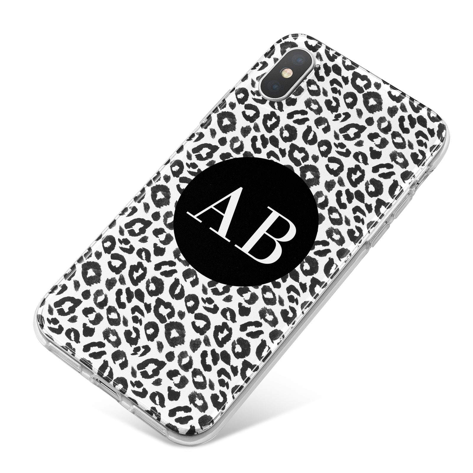 Leopard Print Black and White iPhone X Bumper Case on Silver iPhone
