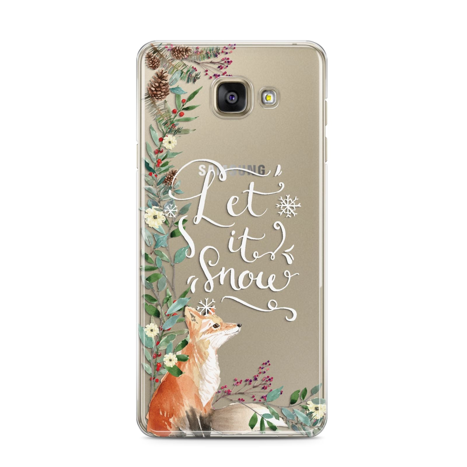Let It Snow Christmas Samsung Galaxy A3 2016 Case on gold phone