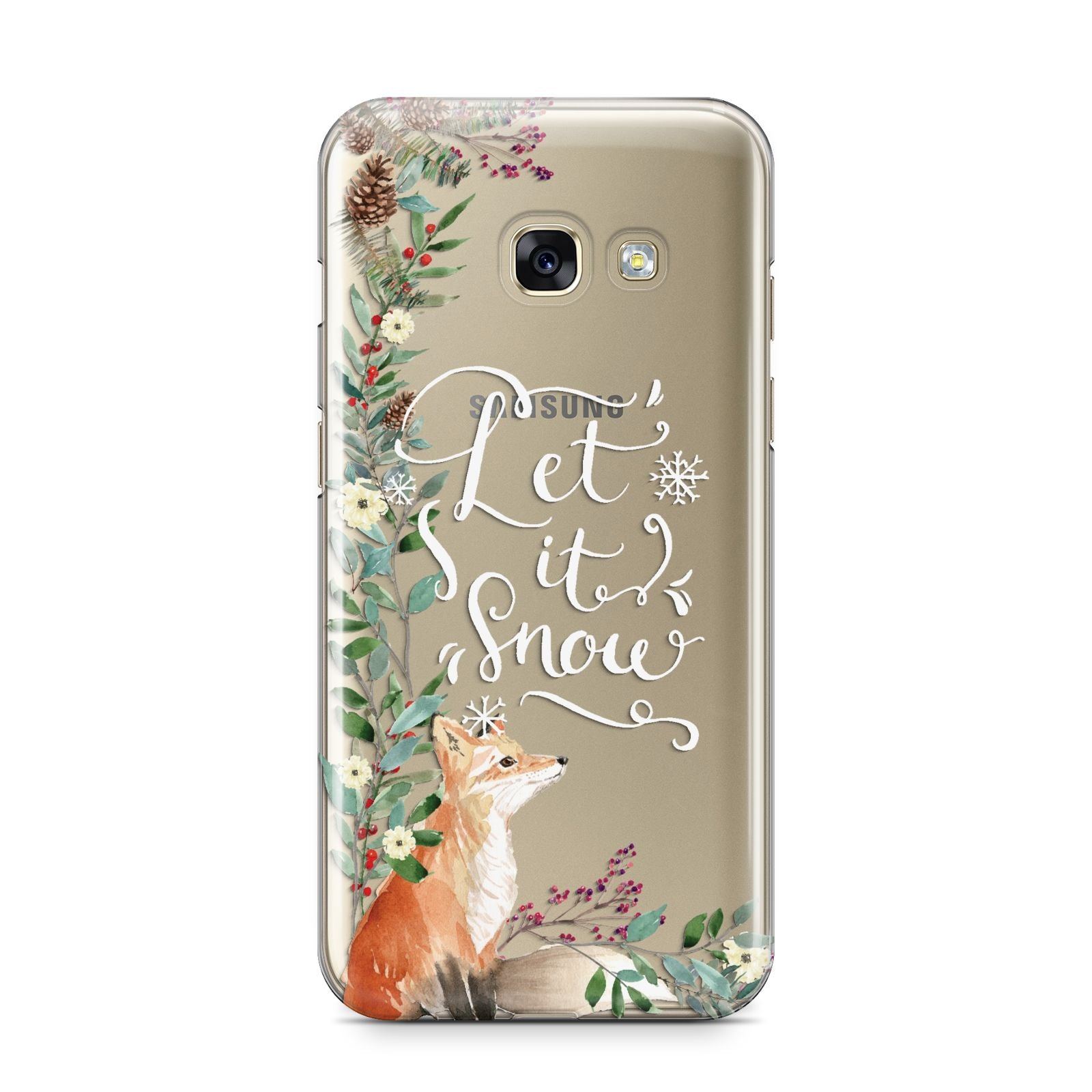 Let It Snow Christmas Samsung Galaxy A3 2017 Case on gold phone