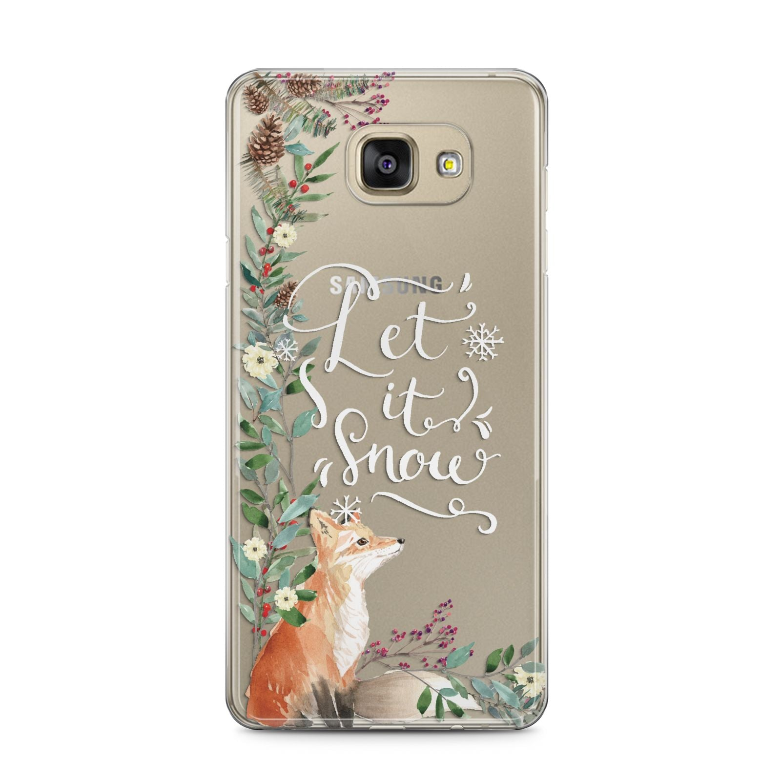 Let It Snow Christmas Samsung Galaxy A5 2016 Case on gold phone