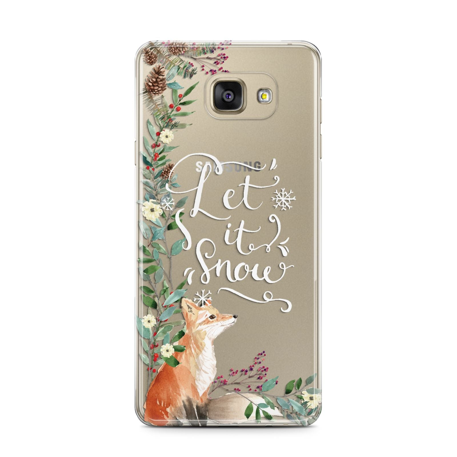 Let It Snow Christmas Samsung Galaxy A7 2016 Case on gold phone