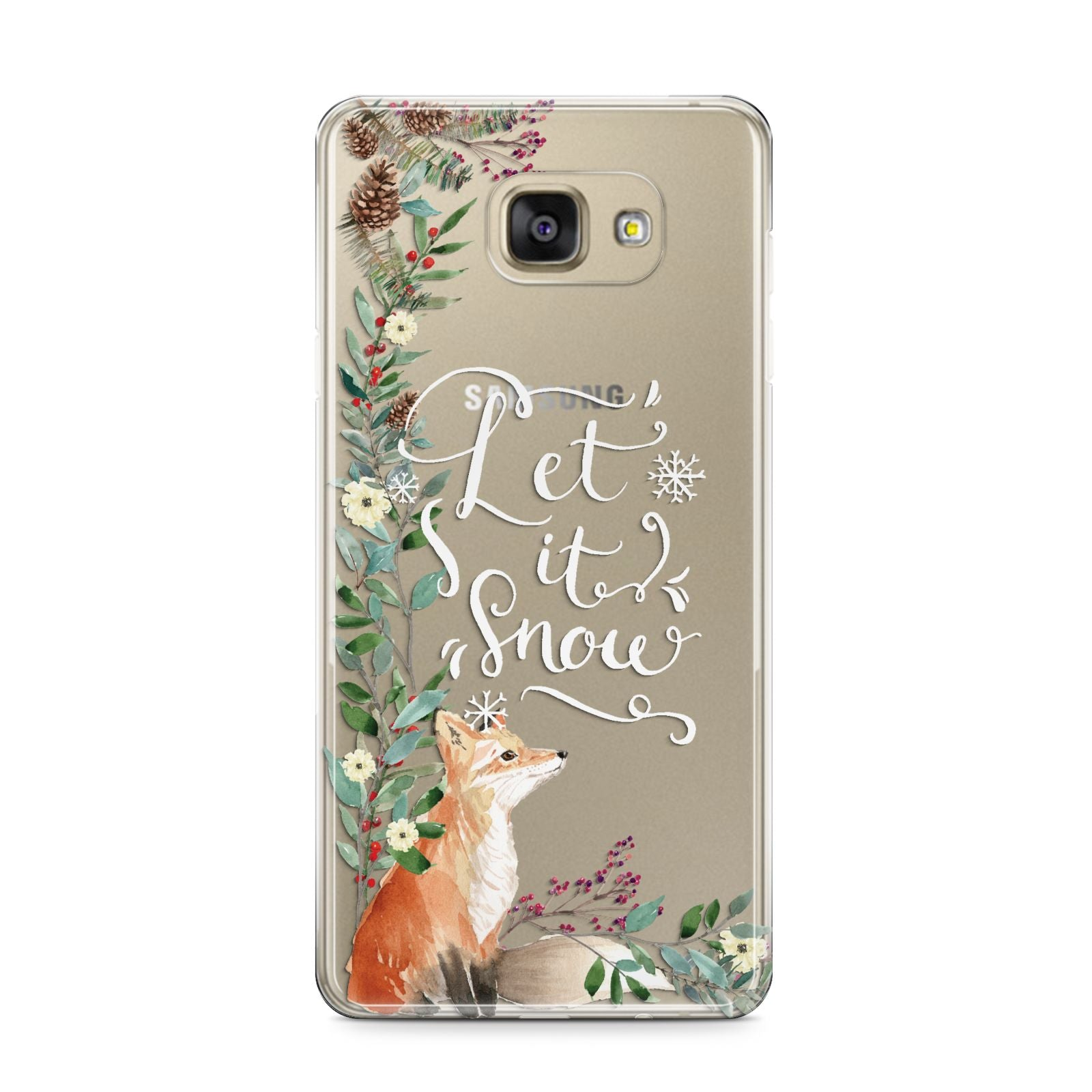 Let It Snow Christmas Samsung Galaxy A9 2016 Case on gold phone