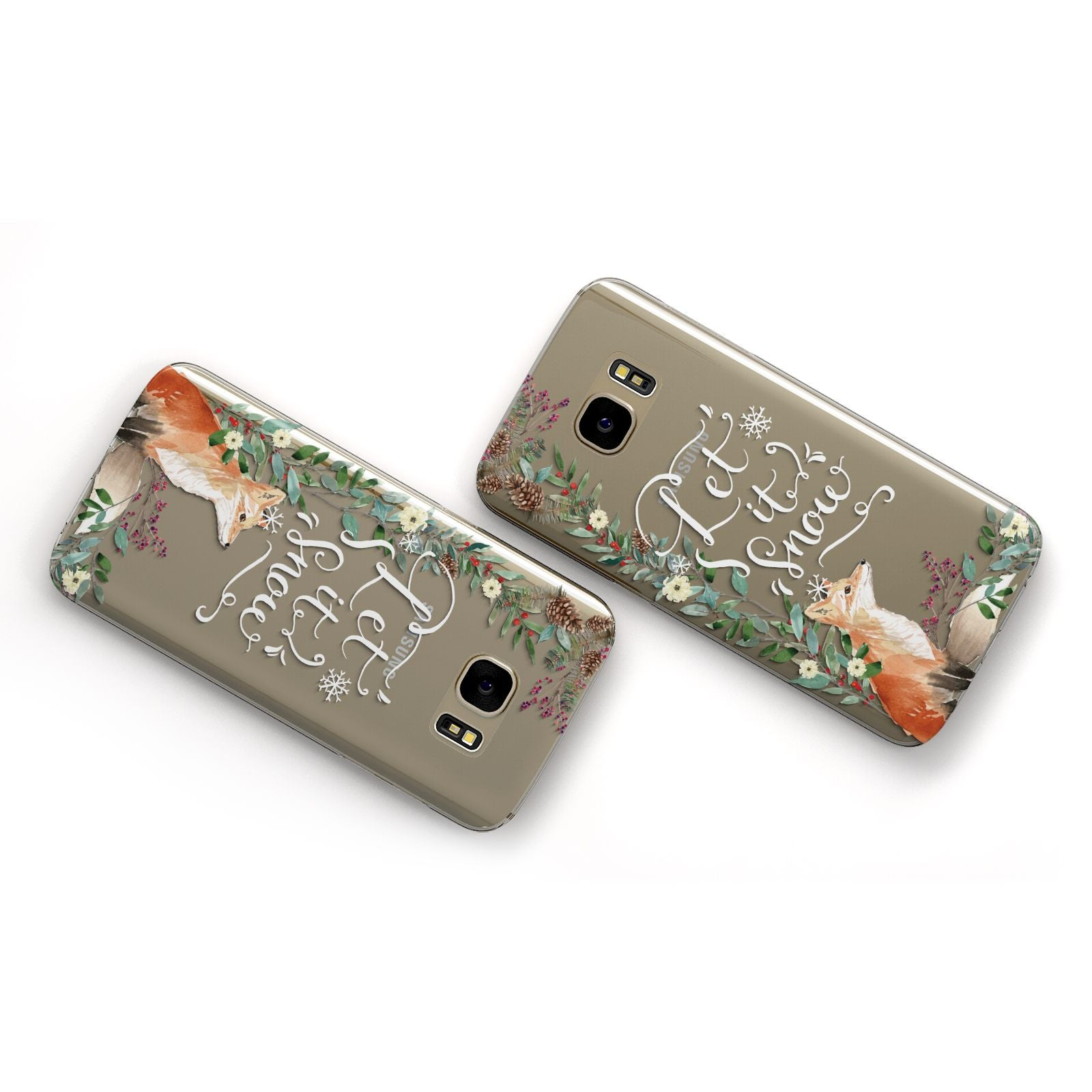 Let It Snow Christmas Samsung Galaxy Case Flat Overview