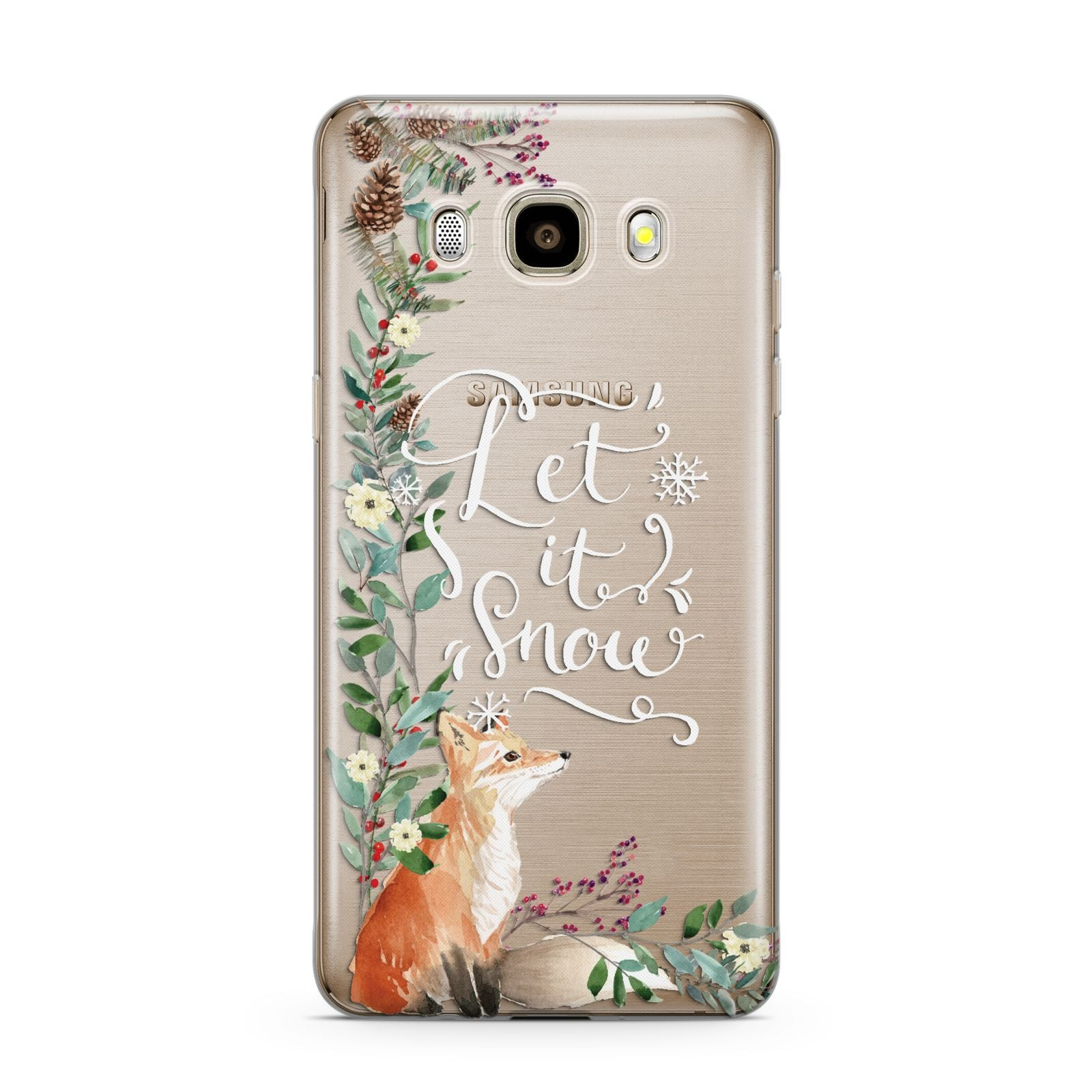 Let It Snow Christmas Samsung Galaxy J7 2016 Case on gold phone
