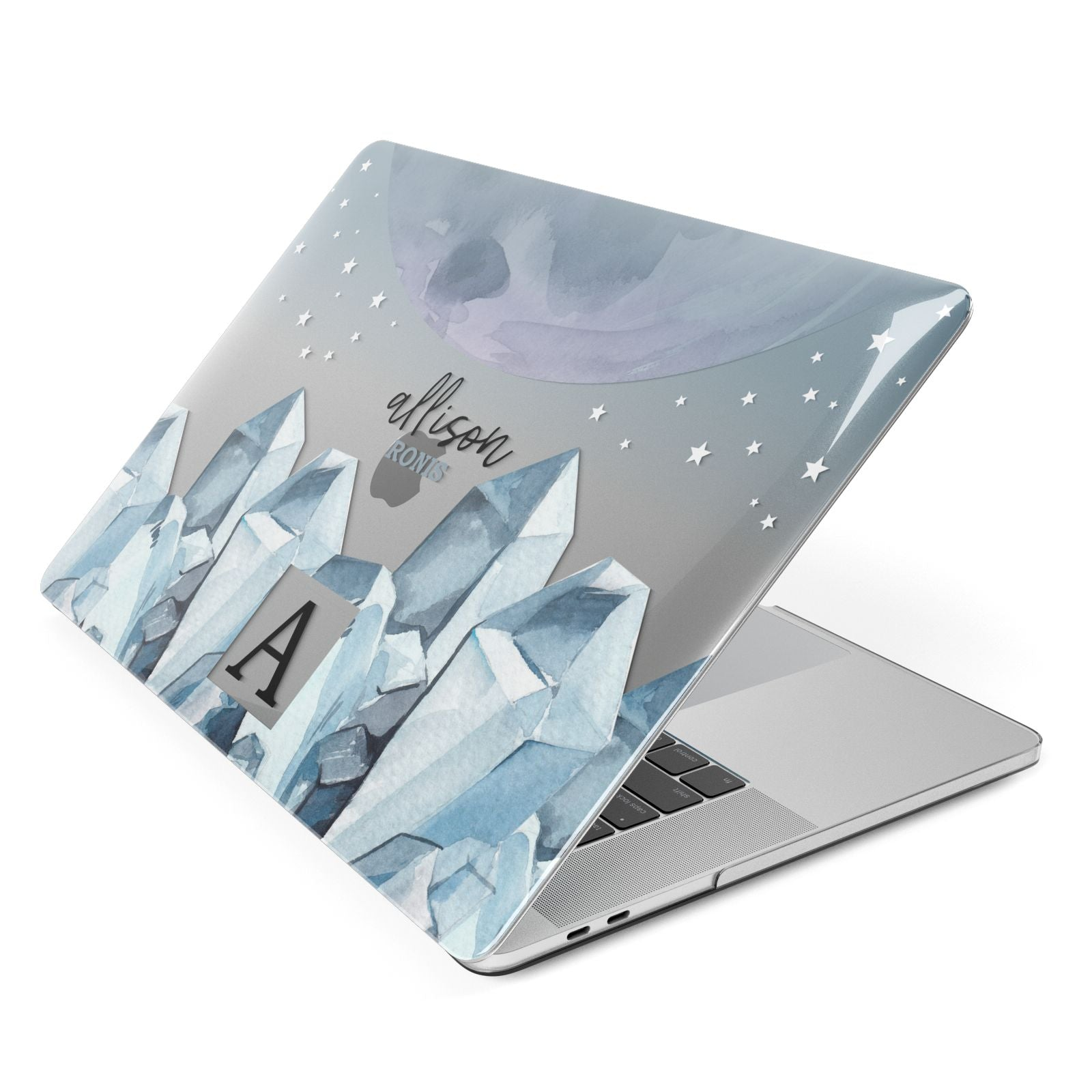 Lunar Crystals Personalised Name Apple MacBook Case Side View