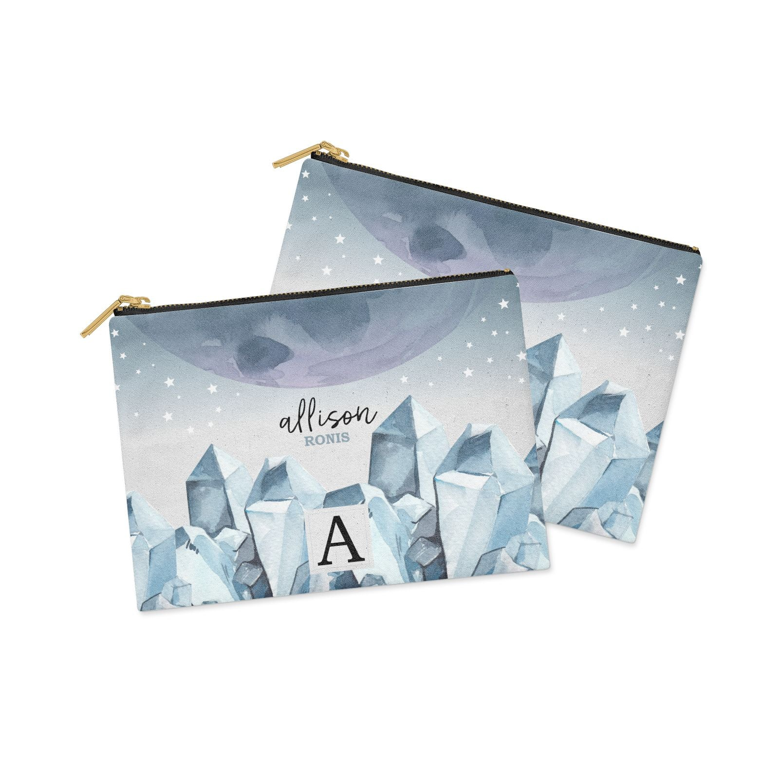 Lunar Crystals Personalised Name Clutch Bag Zipper Pouch Alternative View