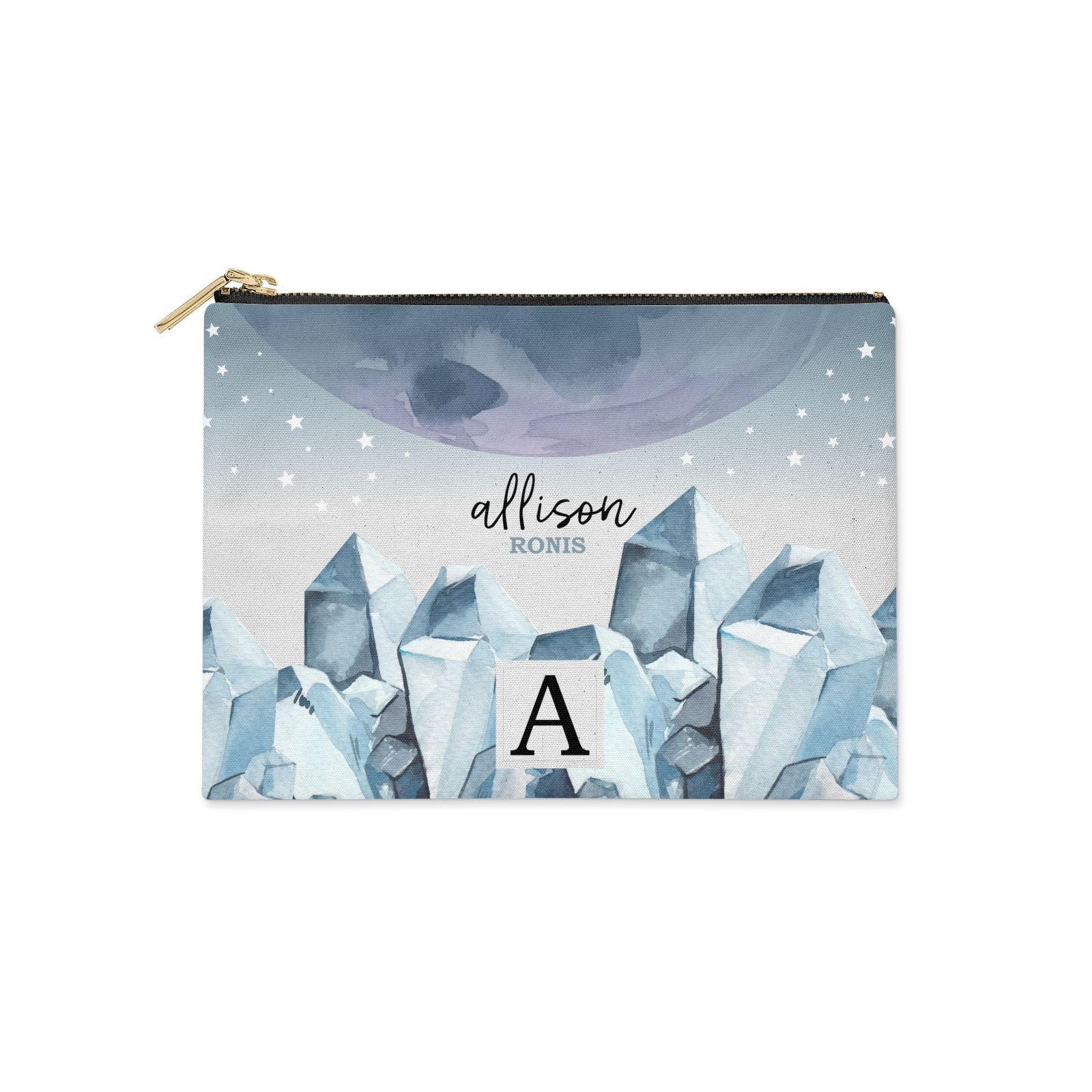Lunar Crystals Personalised Name Clutch Bag Zipper Pouch