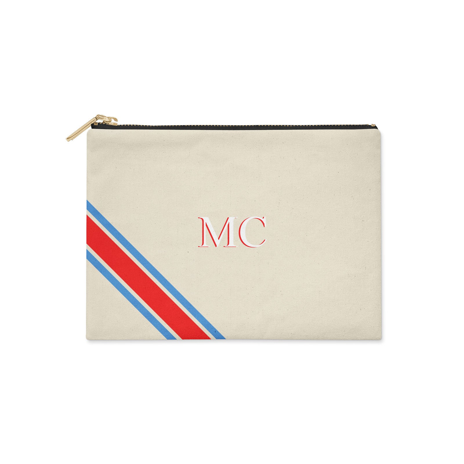 Monogram Diagonal Blue & Red Clutch Bag