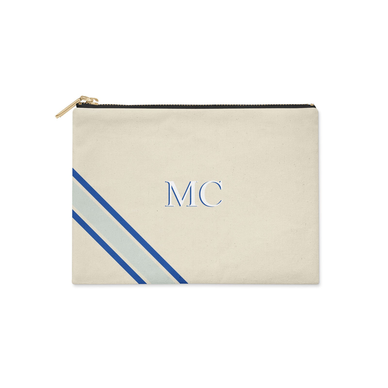 Monogram Diagonal Blue Canvas Clutch