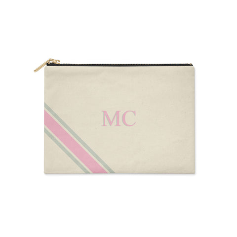 Monogram Diagonal Pink & Grey Canvas Clutch