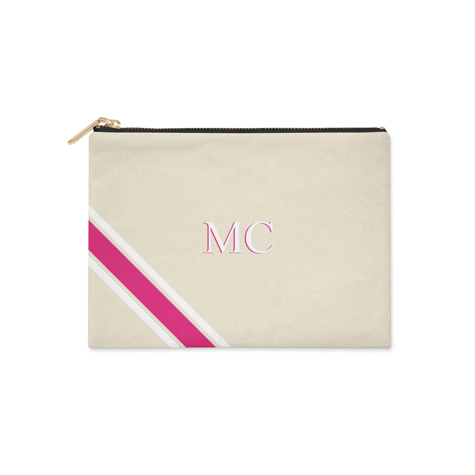 Monogram Diagonal Pink & White Canvas Clutch