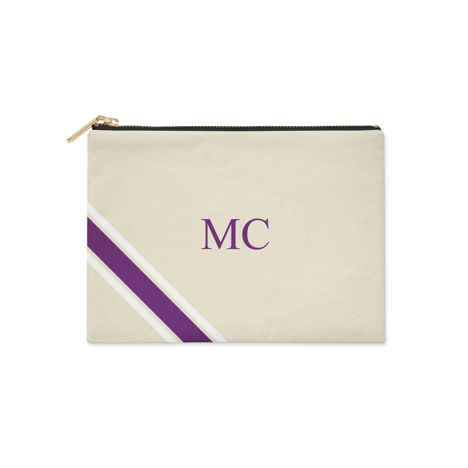 Monogram Diagonal Purple & White Canvas Clutch
