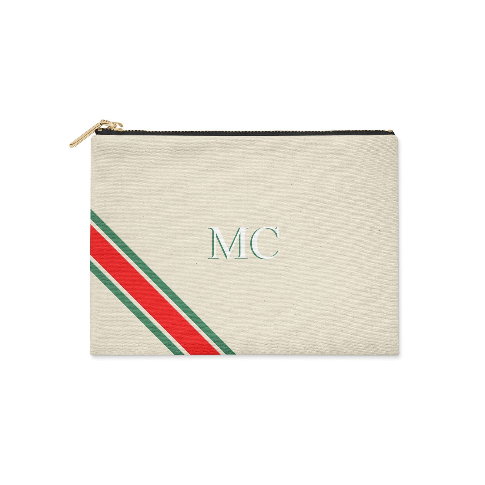 Monogram Diagonal Green & Red Canvas Clutch