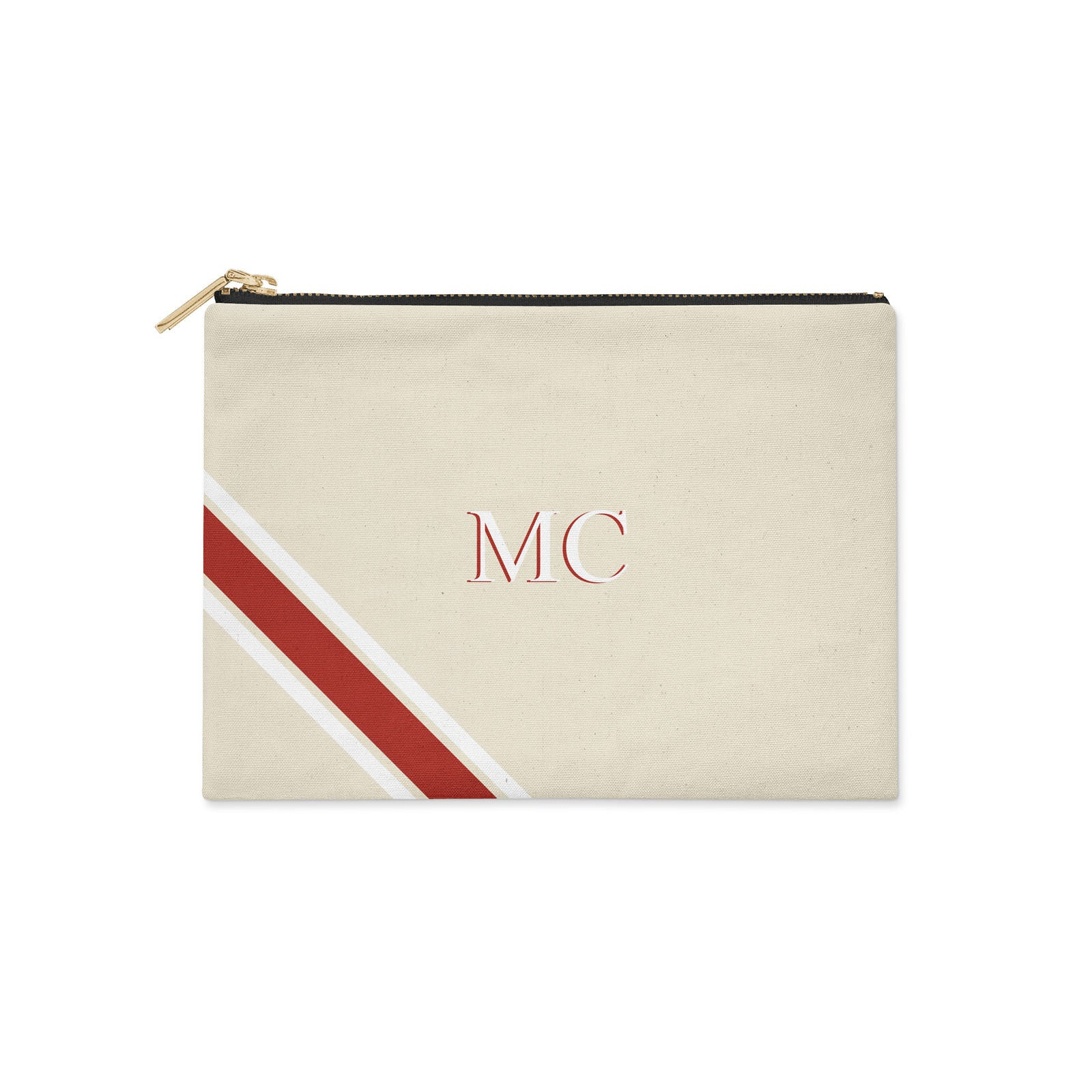 Monogram Diagonal Red & White Clutch Bag