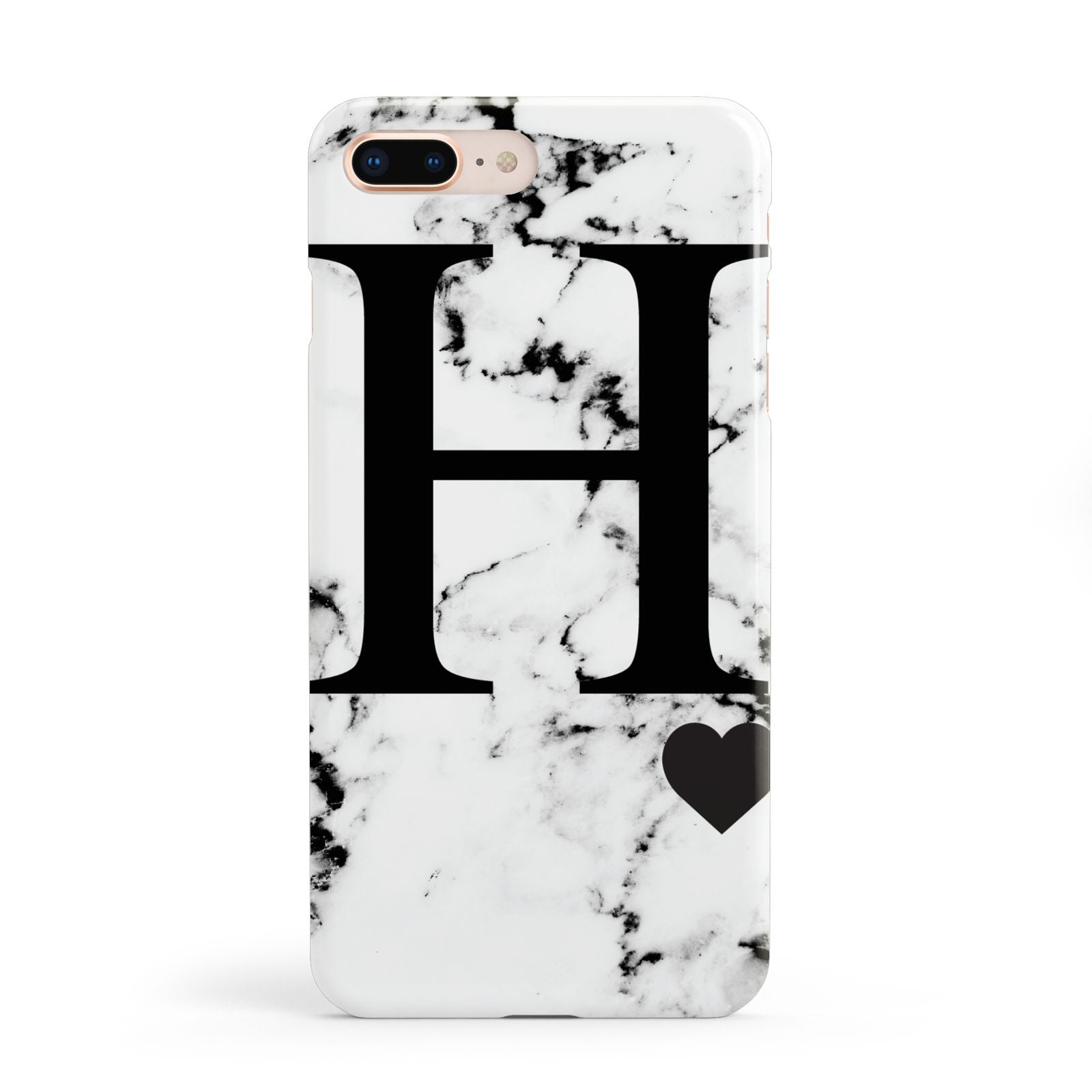 Marble Big Initial Personalised Apple iPhone 8 Plus Case