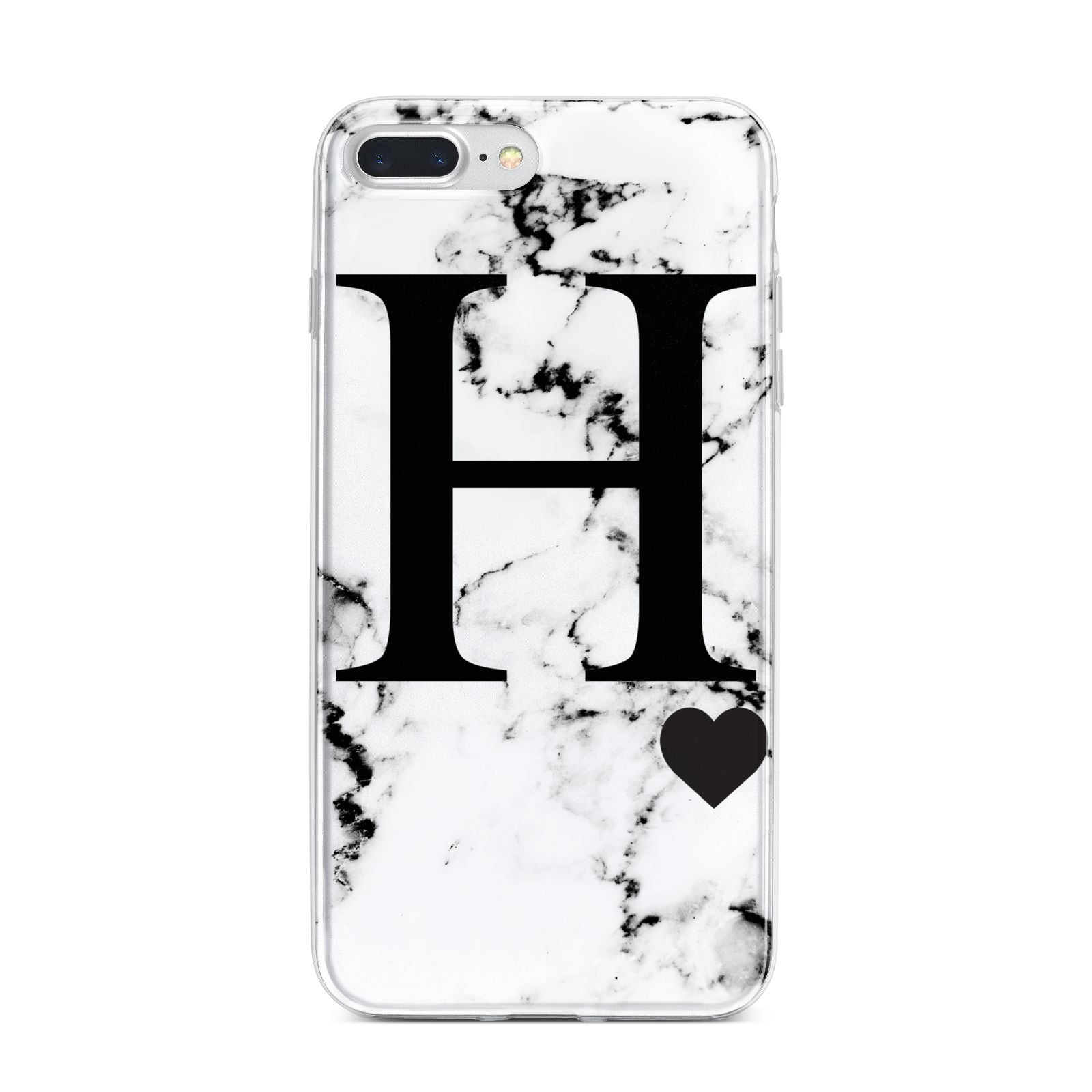 Marble Big Initial Personalised iPhone 7 Plus Bumper Case on Silver iPhone