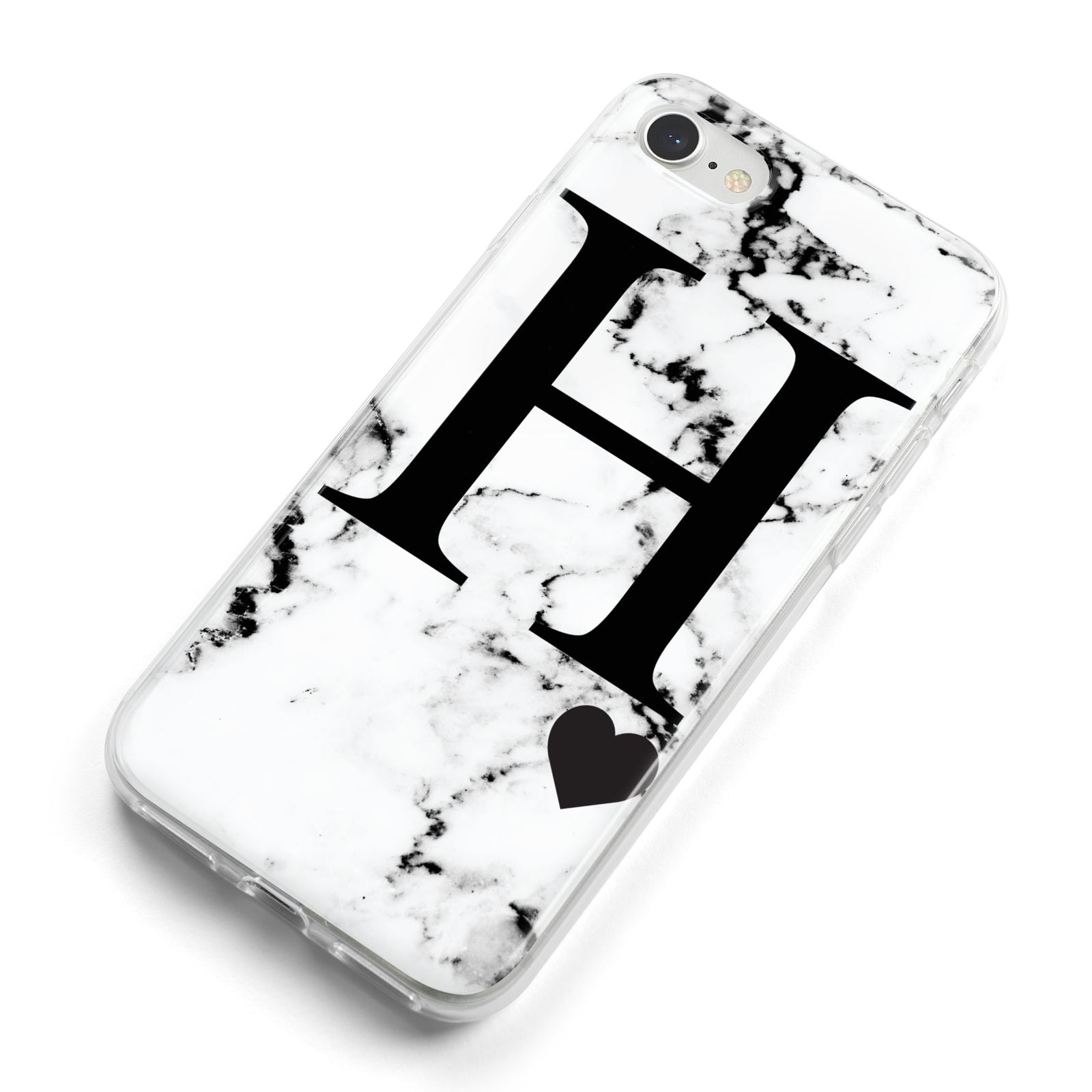 Marble Big Initial Personalised iPhone 8 Bumper Case on Silver iPhone Alternative Image