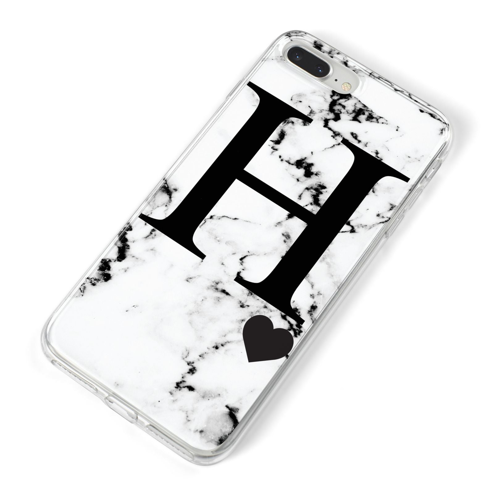 Marble Big Initial Personalised iPhone 8 Plus Bumper Case on Silver iPhone Alternative Image