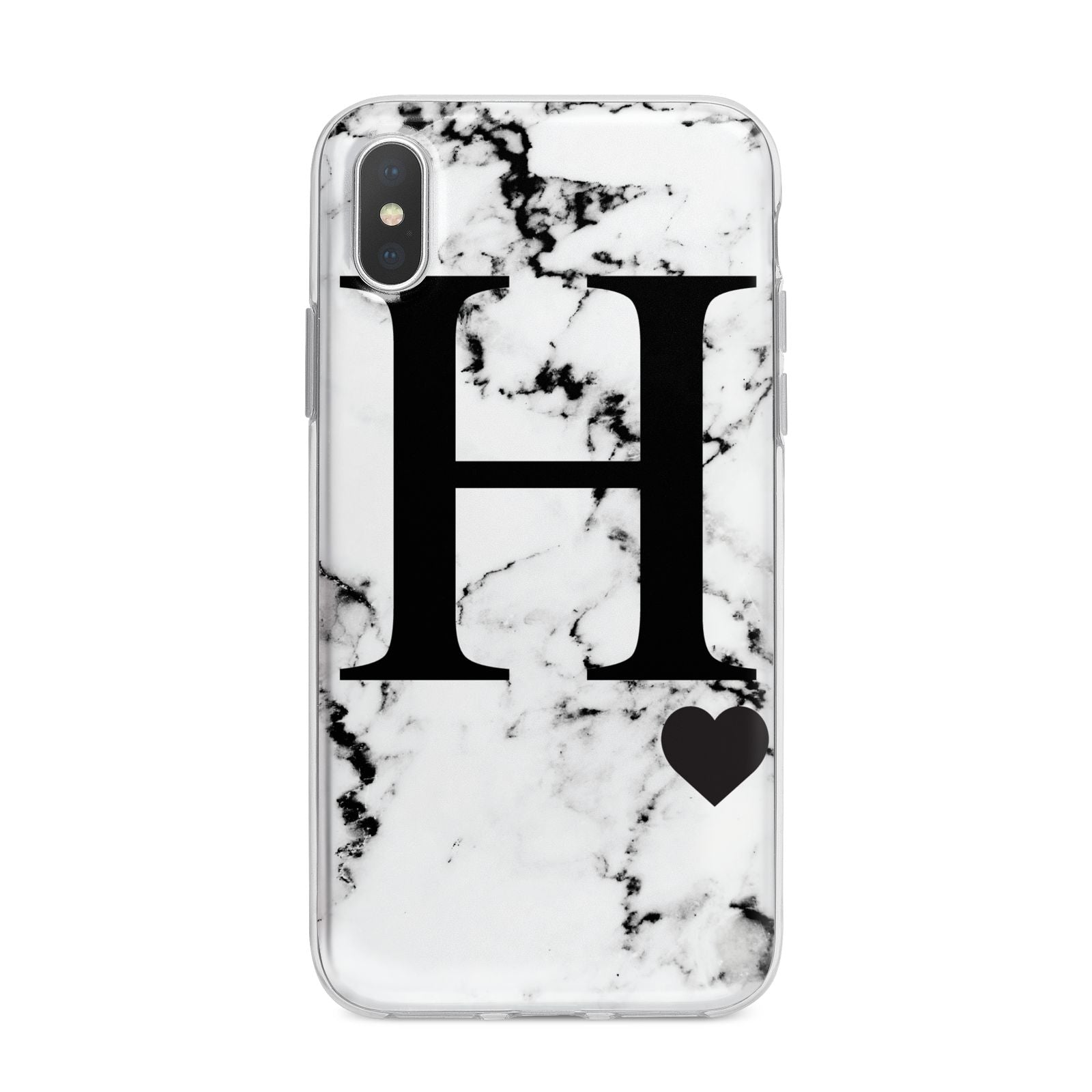 Marble Big Initial Personalised iPhone X Bumper Case on Silver iPhone Alternative Image 1