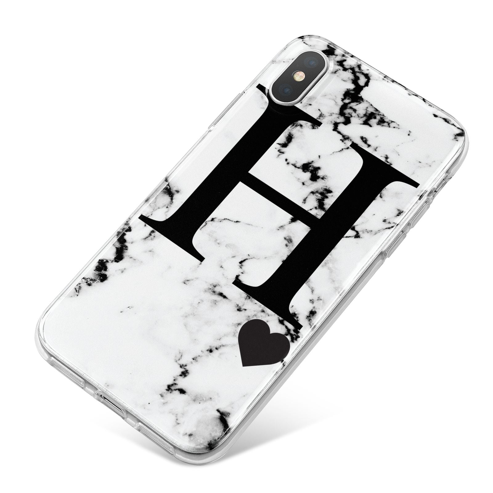 Marble Big Initial Personalised iPhone X Bumper Case on Silver iPhone
