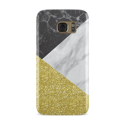 Marble Black Gold Glitter Samsung Galaxy Case