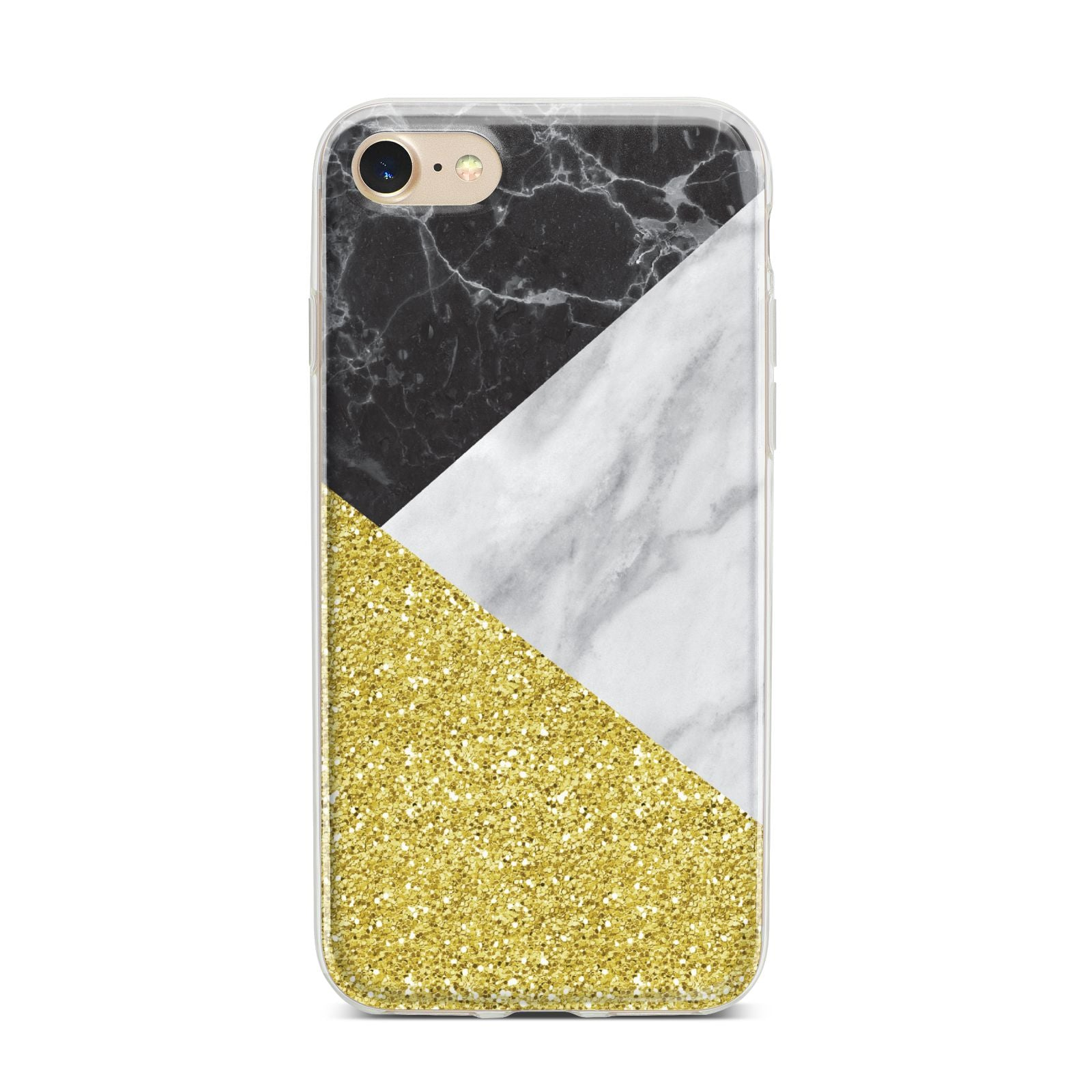 Marble Black Gold iPhone 7 Bumper Case on Gold iPhone