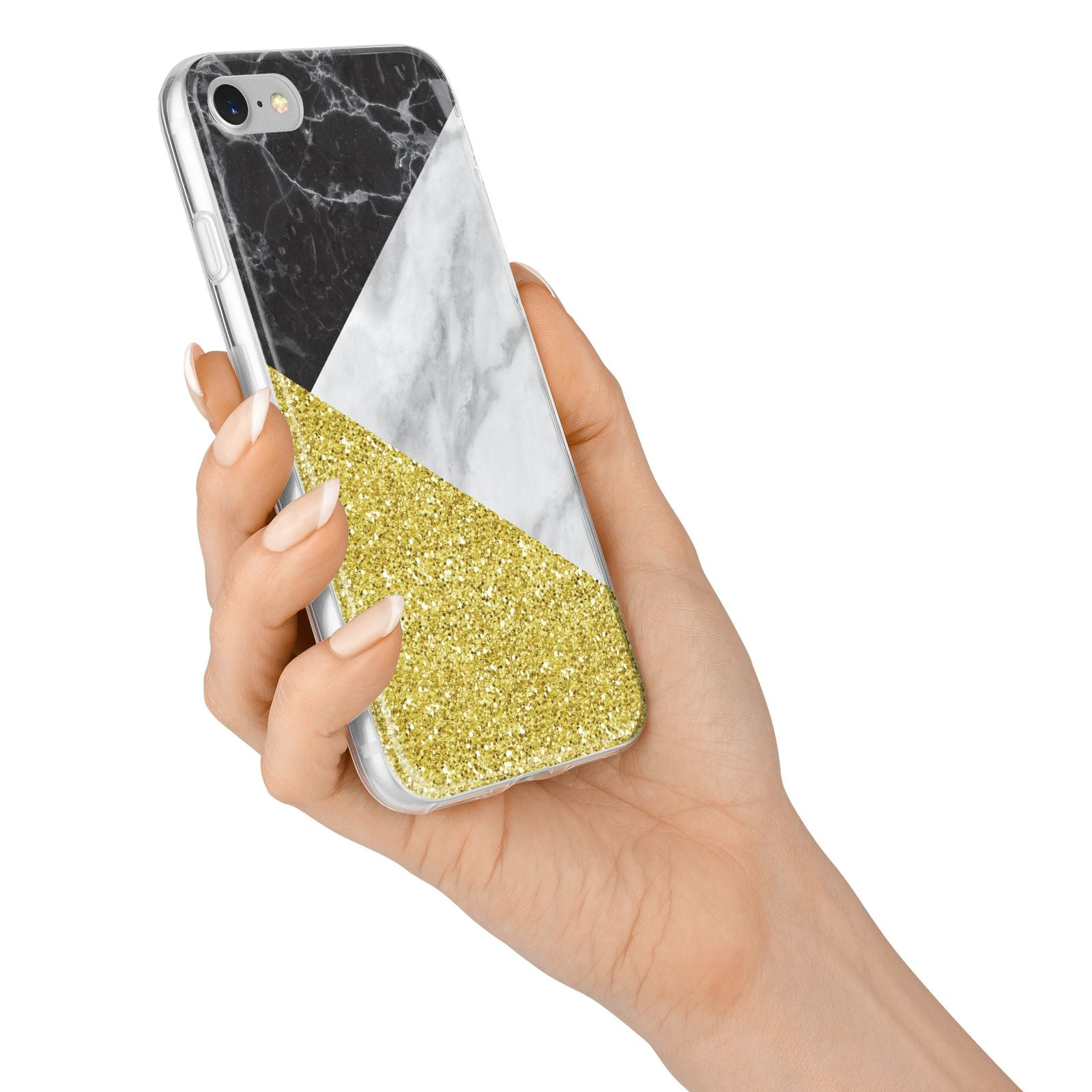 Marble Black Gold iPhone 7 Bumper Case on Silver iPhone Alternative Image