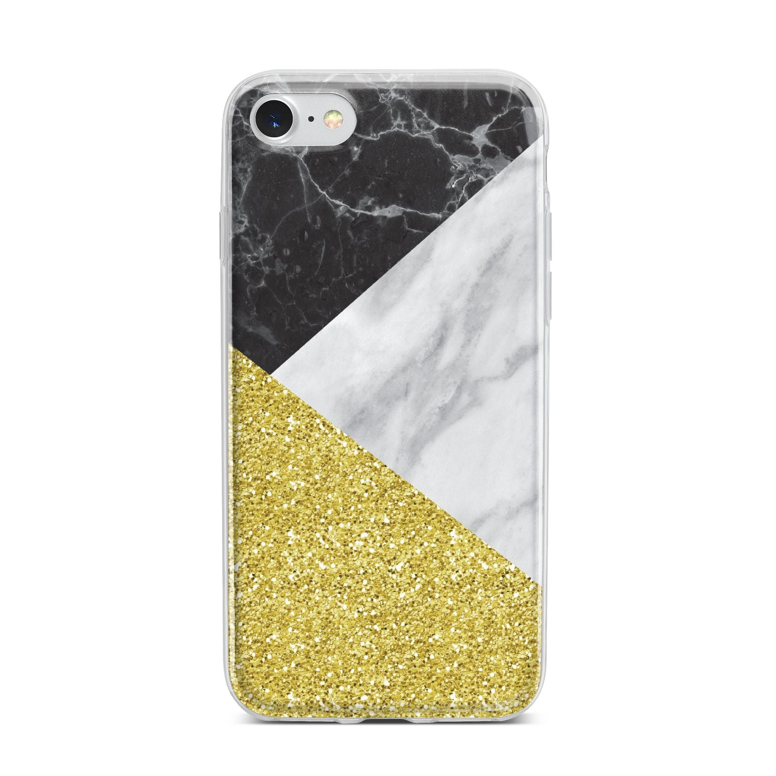 Marble Black Gold iPhone 7 Bumper Case on Silver iPhone