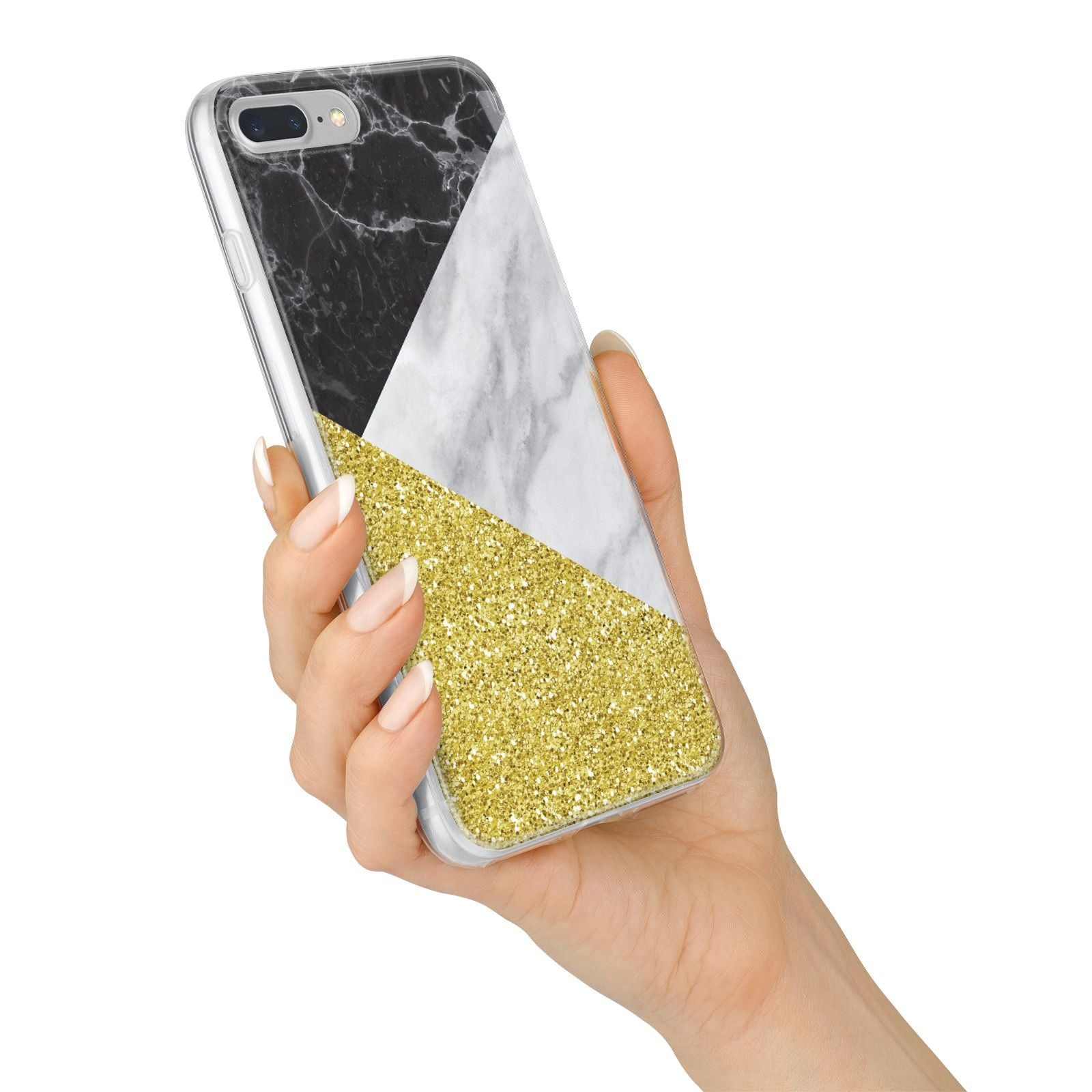 Marble Black Gold iPhone 7 Plus Bumper Case on Silver iPhone Alternative Image