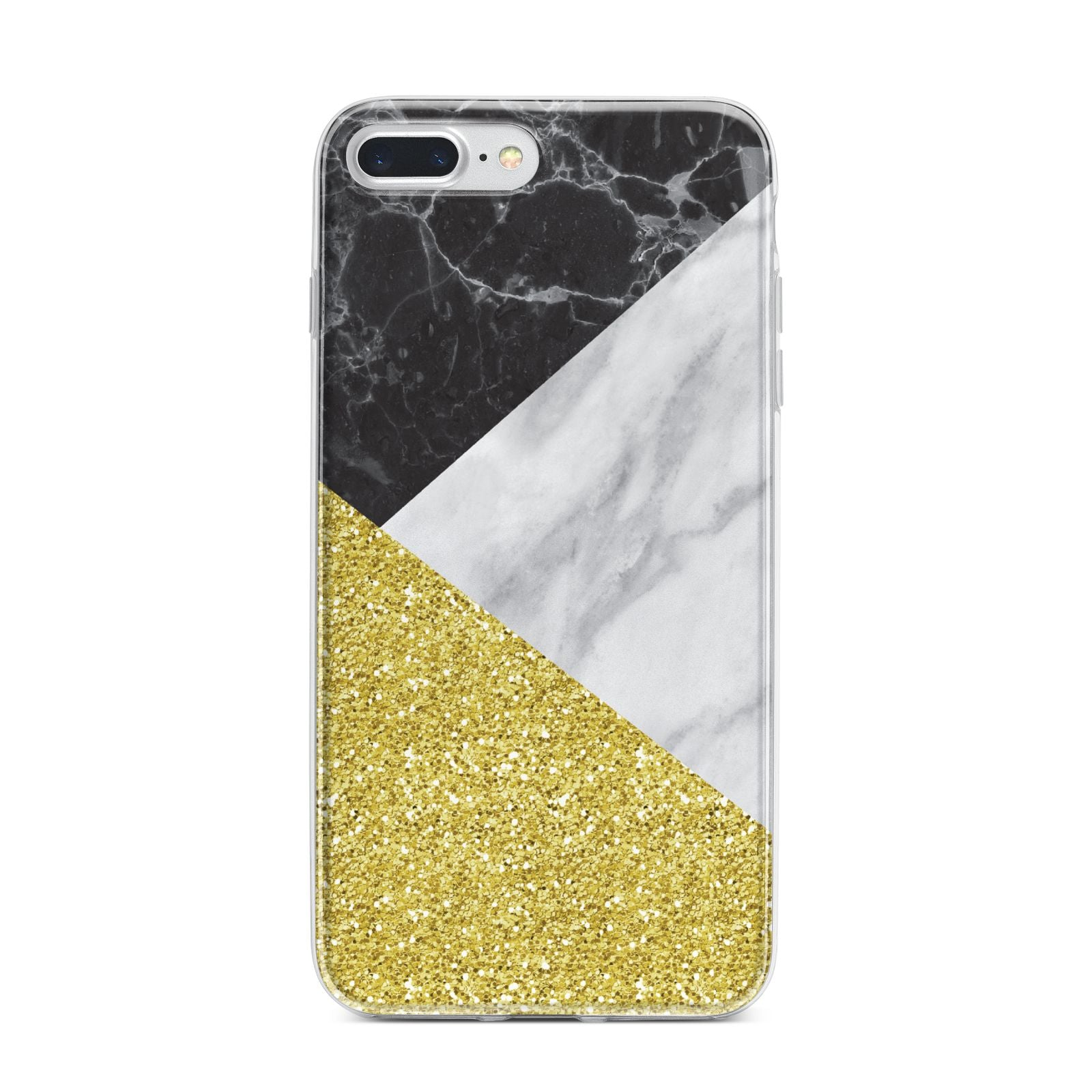 Marble Black Gold iPhone 7 Plus Bumper Case on Silver iPhone