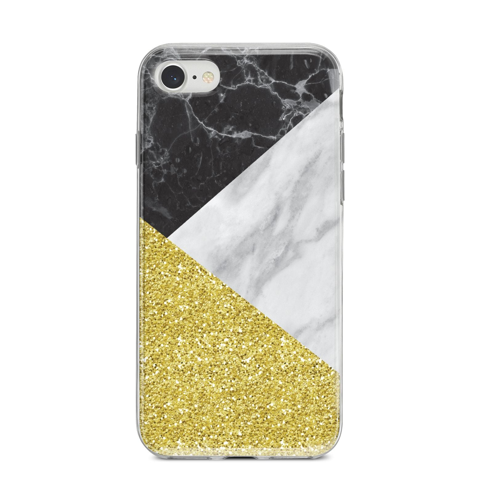 Marble Black Gold iPhone 8 Bumper Case on Silver iPhone