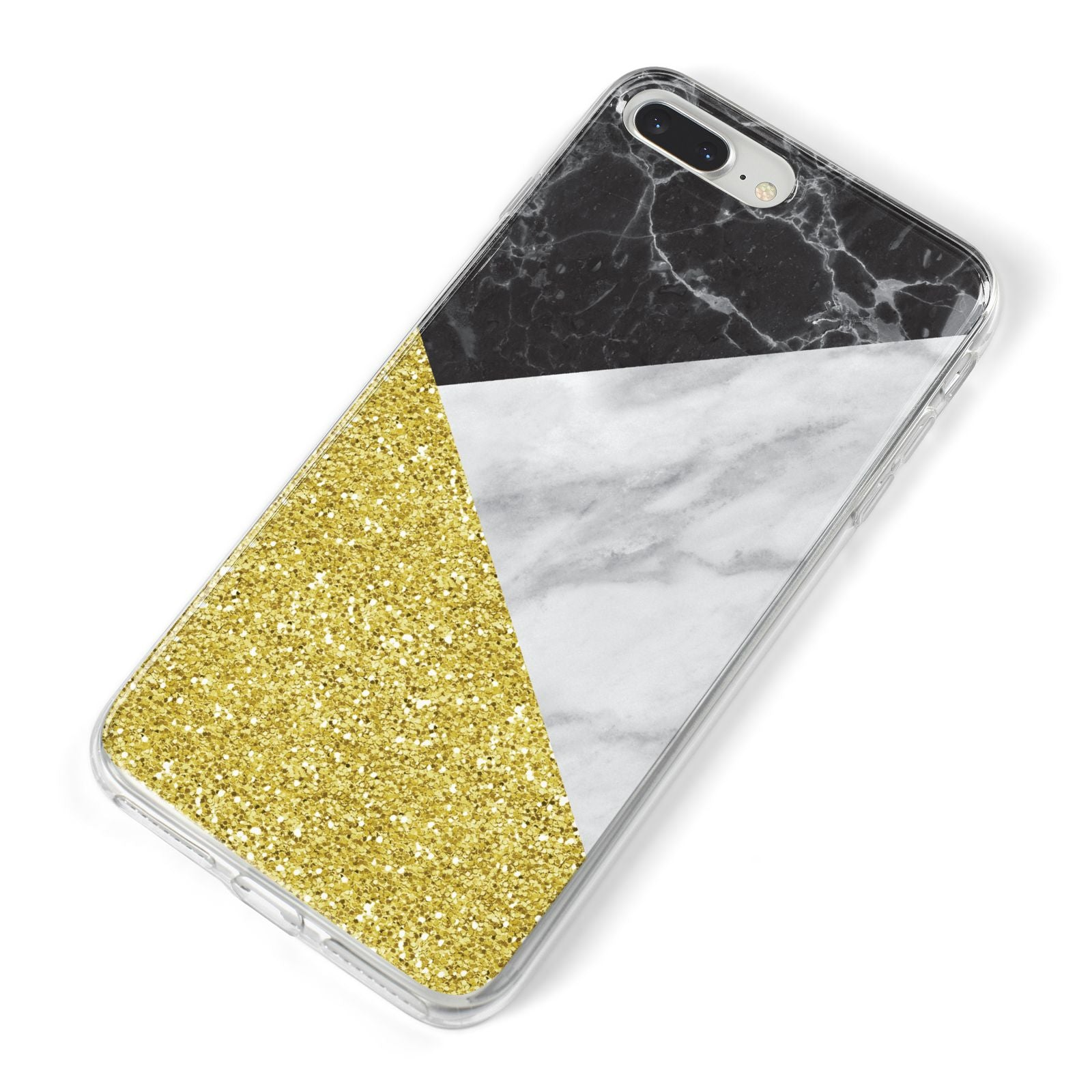 Marble Black Gold iPhone 8 Plus Bumper Case on Silver iPhone Alternative Image