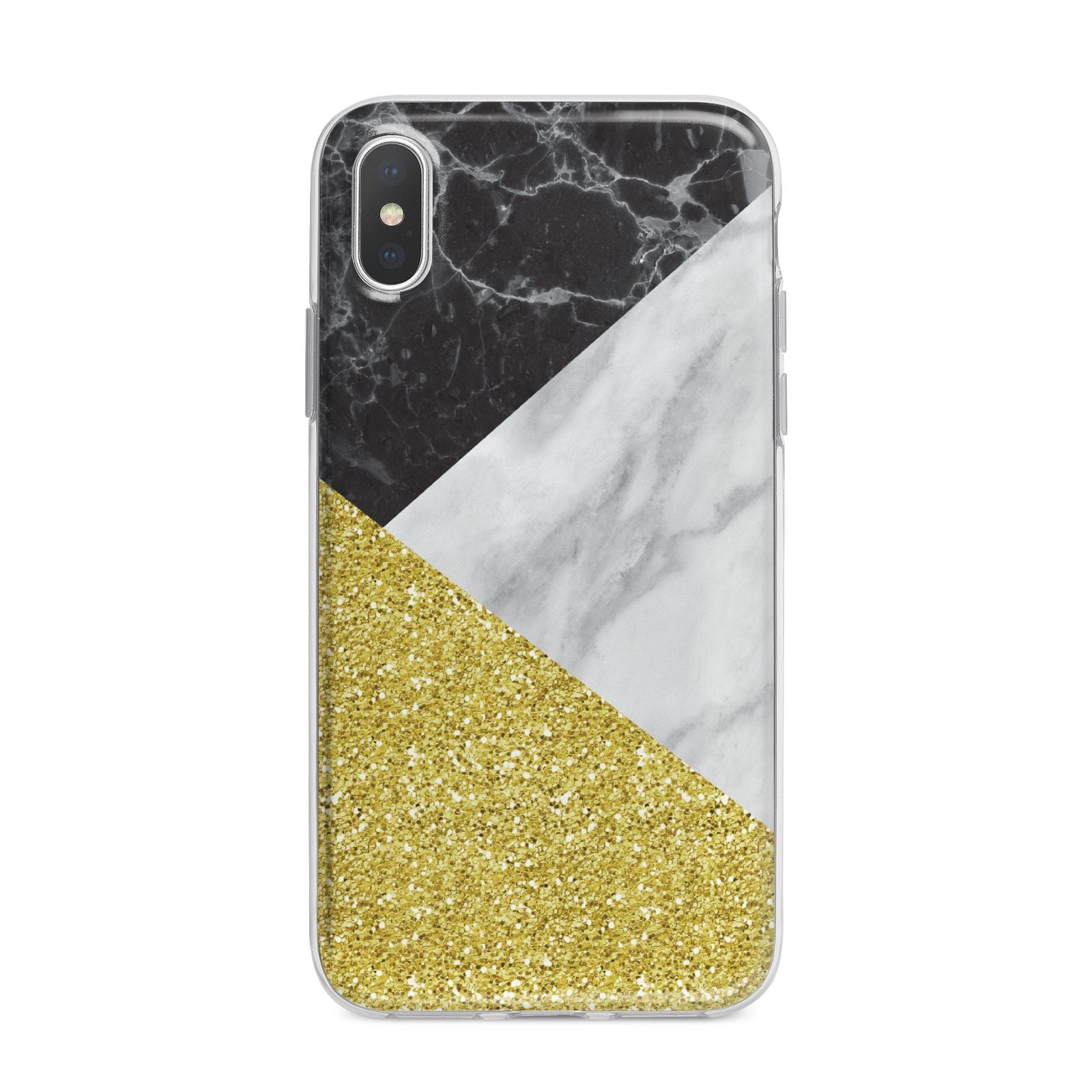 Marble Black Gold iPhone X Bumper Case on Silver iPhone Alternative Image 1