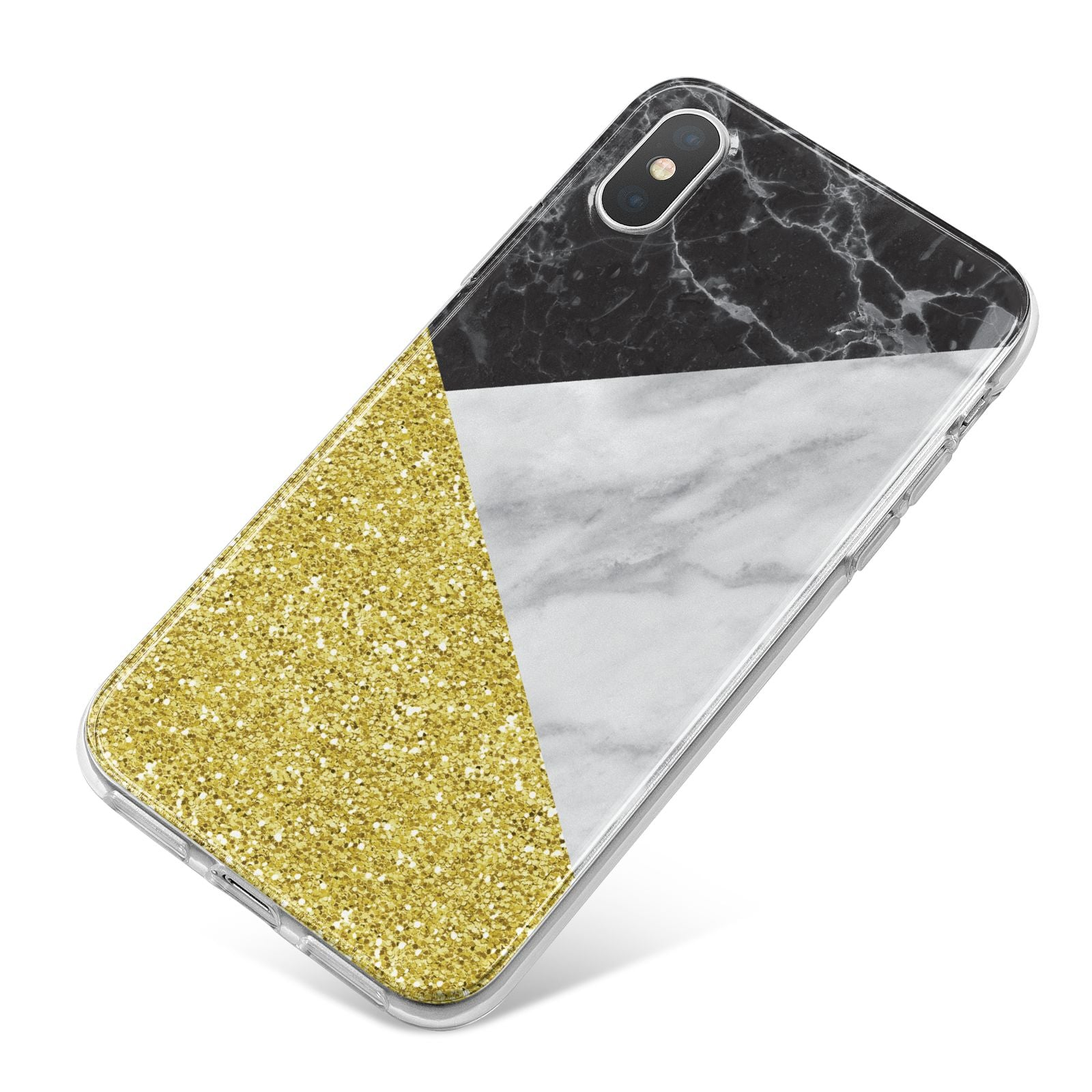 Marble Black Gold iPhone X Bumper Case on Silver iPhone
