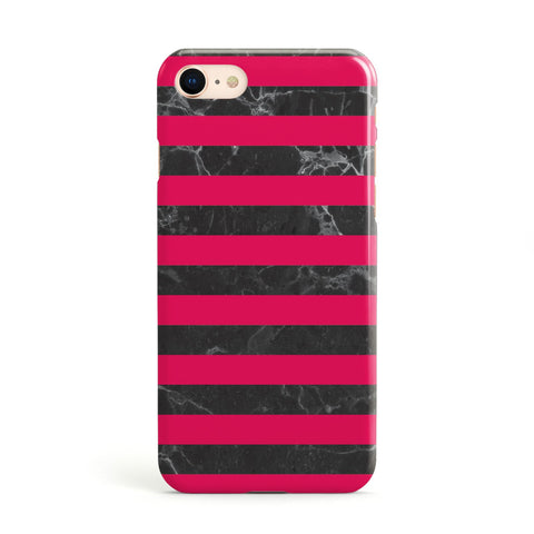 Marble Black & Hot Pink Apple iPhone Case