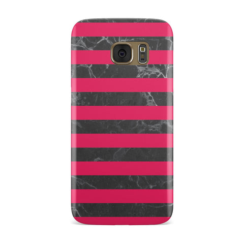 Marble Black & Hot Pink Samsung Galaxy Case