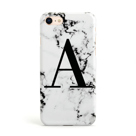 Marble Black Initial Personalised Apple iPhone Case