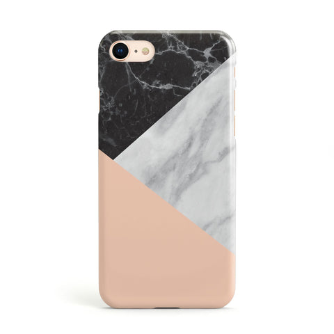 Marble Black White Grey Peach Apple iPhone Case