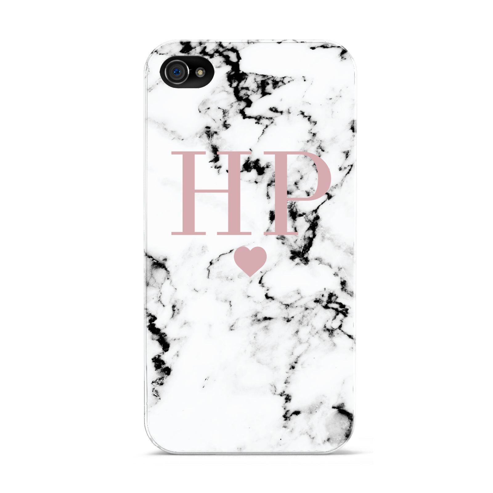 Marble Blush Pink Heart Personalised Apple iPhone 4s Case