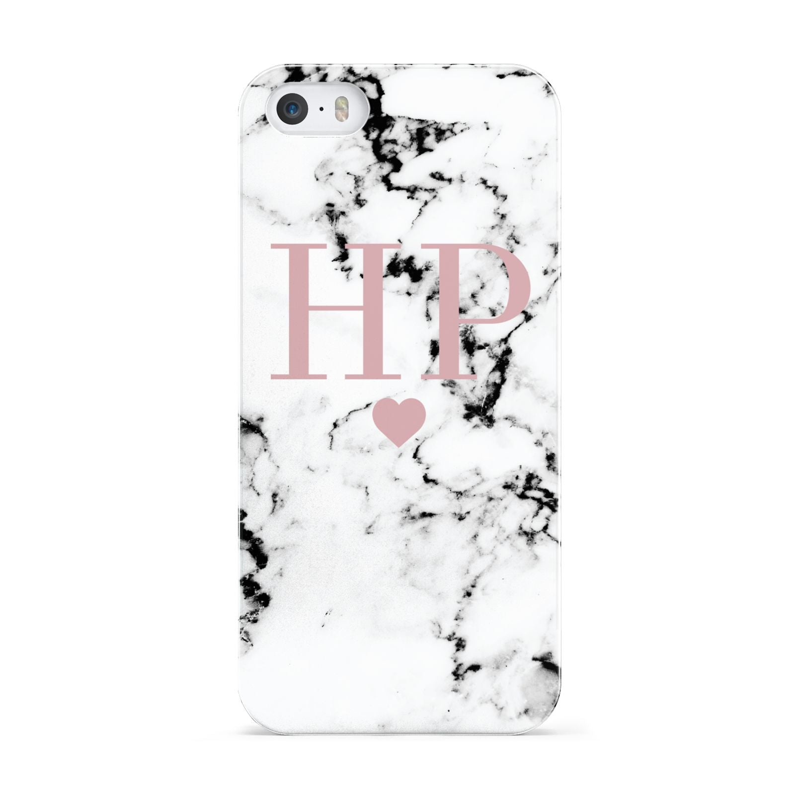 Marble Blush Pink Heart Personalised Apple iPhone 5 Case
