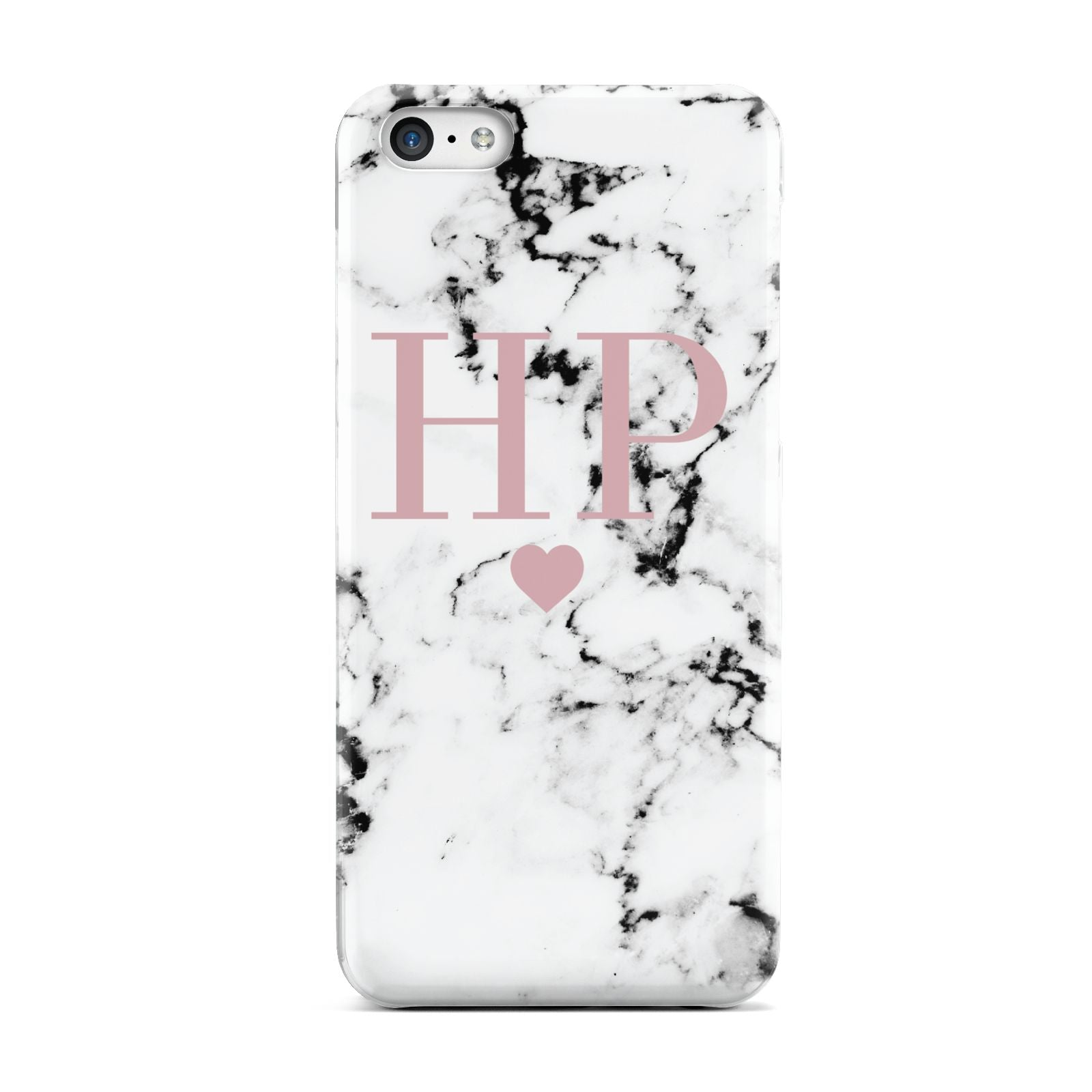 Marble Blush Pink Heart Personalised Apple iPhone 5c Case