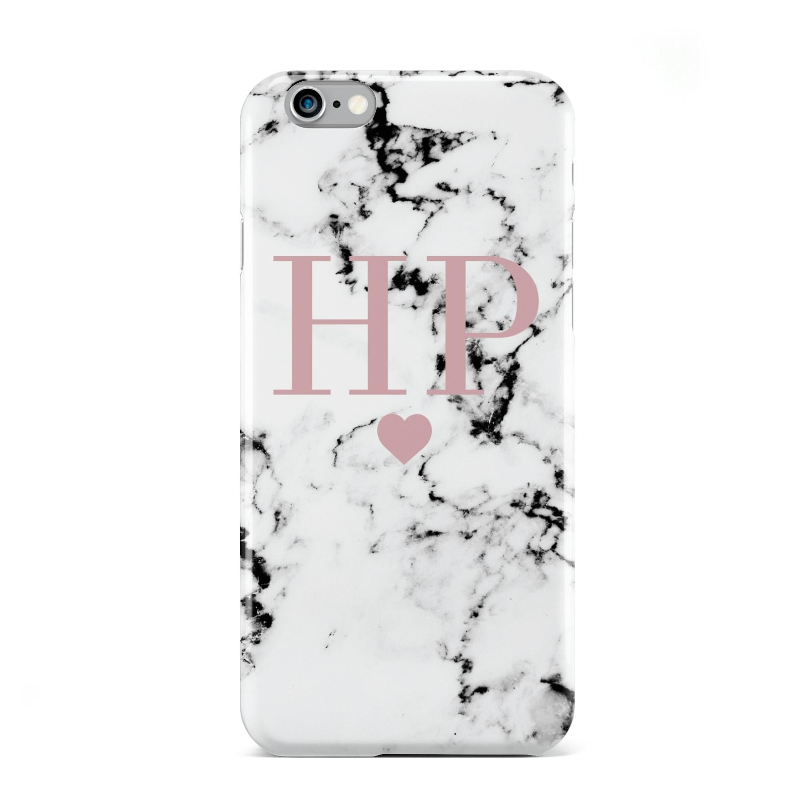Marble Blush Pink Heart Personalised Apple iPhone 6 Case