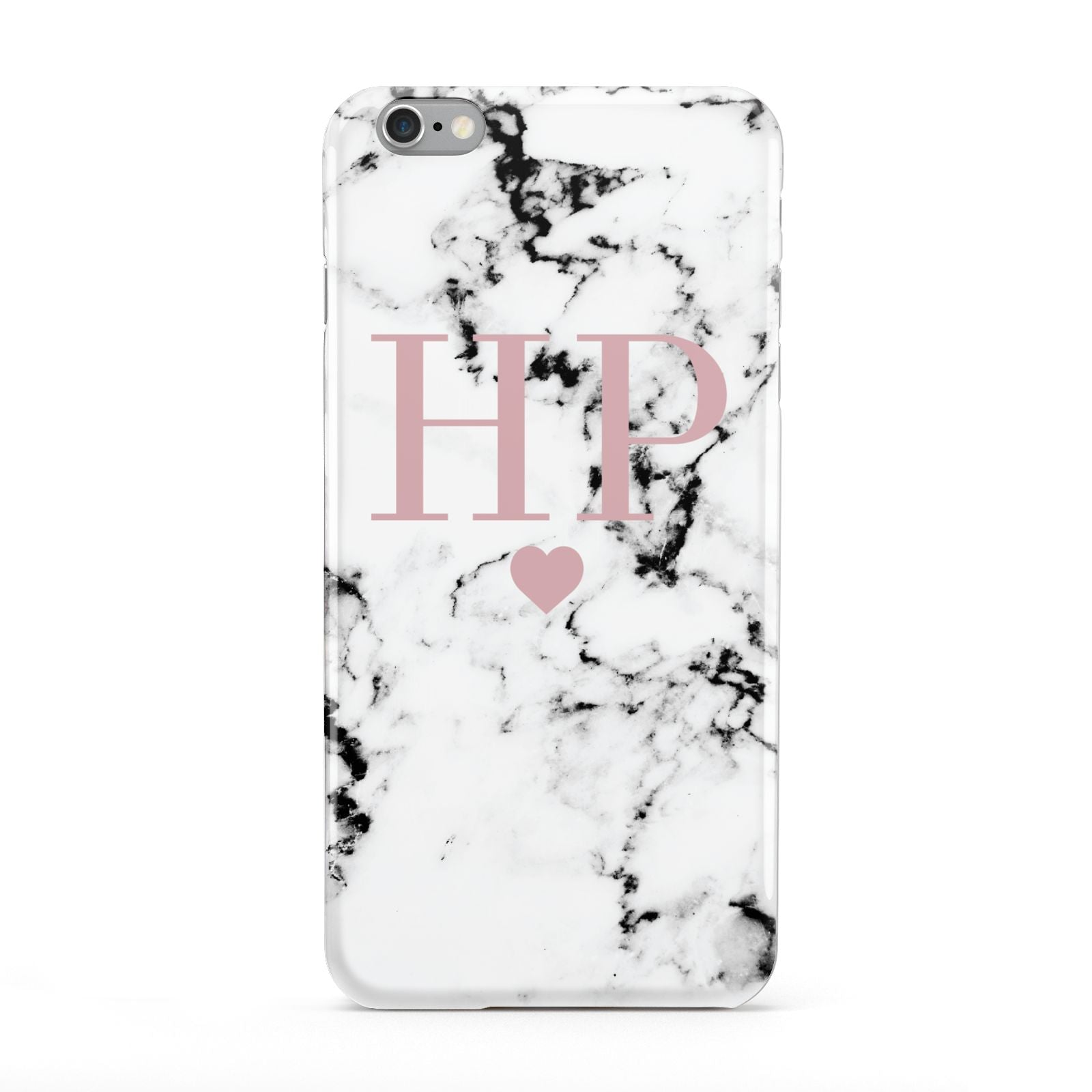 Marble Blush Pink Heart Personalised Apple iPhone 6 Plus Case
